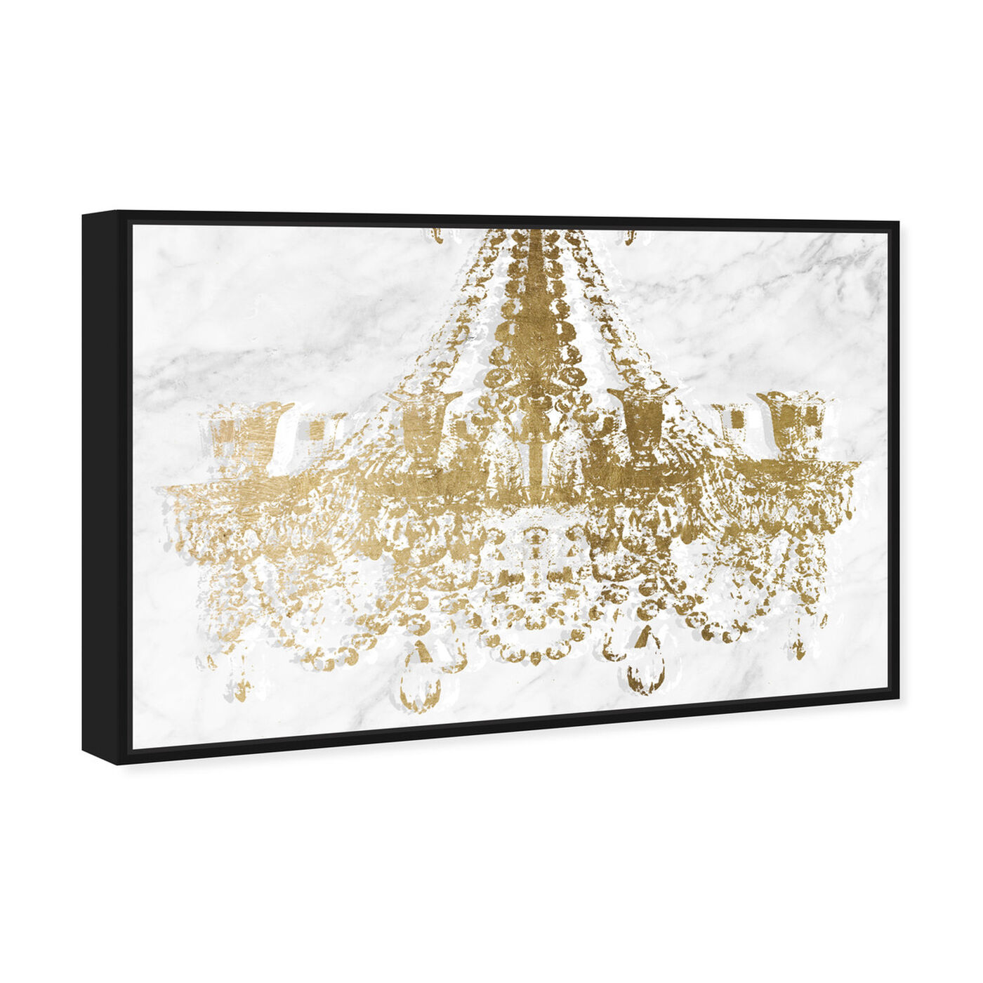 Angled view of Dramatic Entrance Marble and Gold featuring fashion and glam and chandeliers art.
