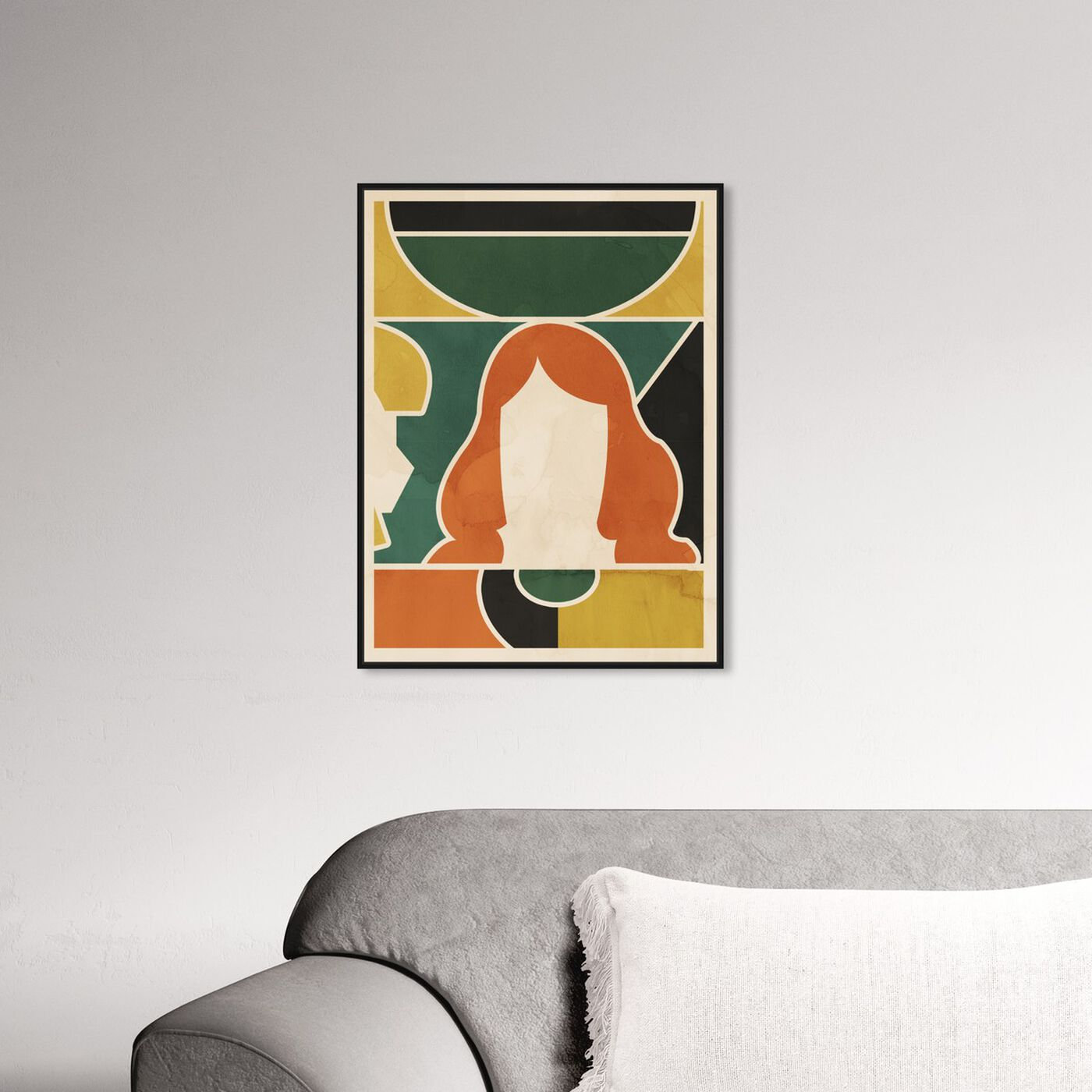 Hanging view of Girl at the Window featuring abstract and geometric art.