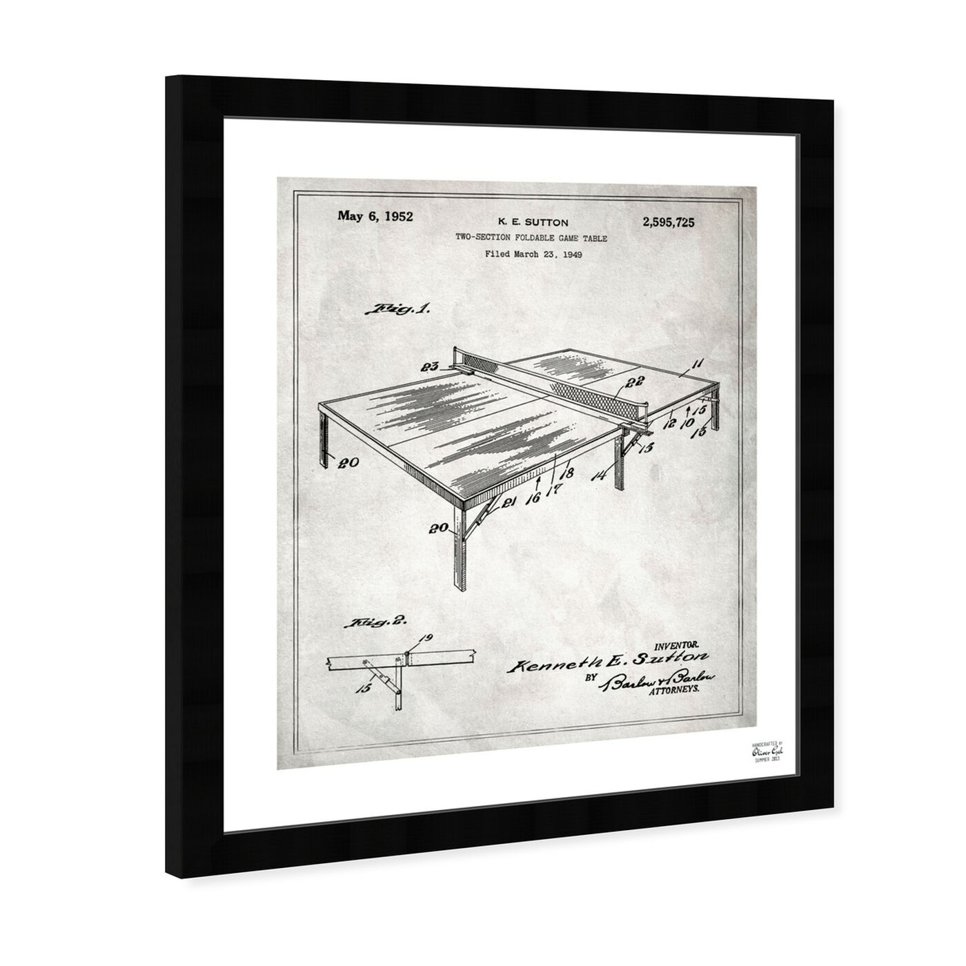 Angled view of Ping Pong Table 1949. featuring sports and teams and table tennis art.