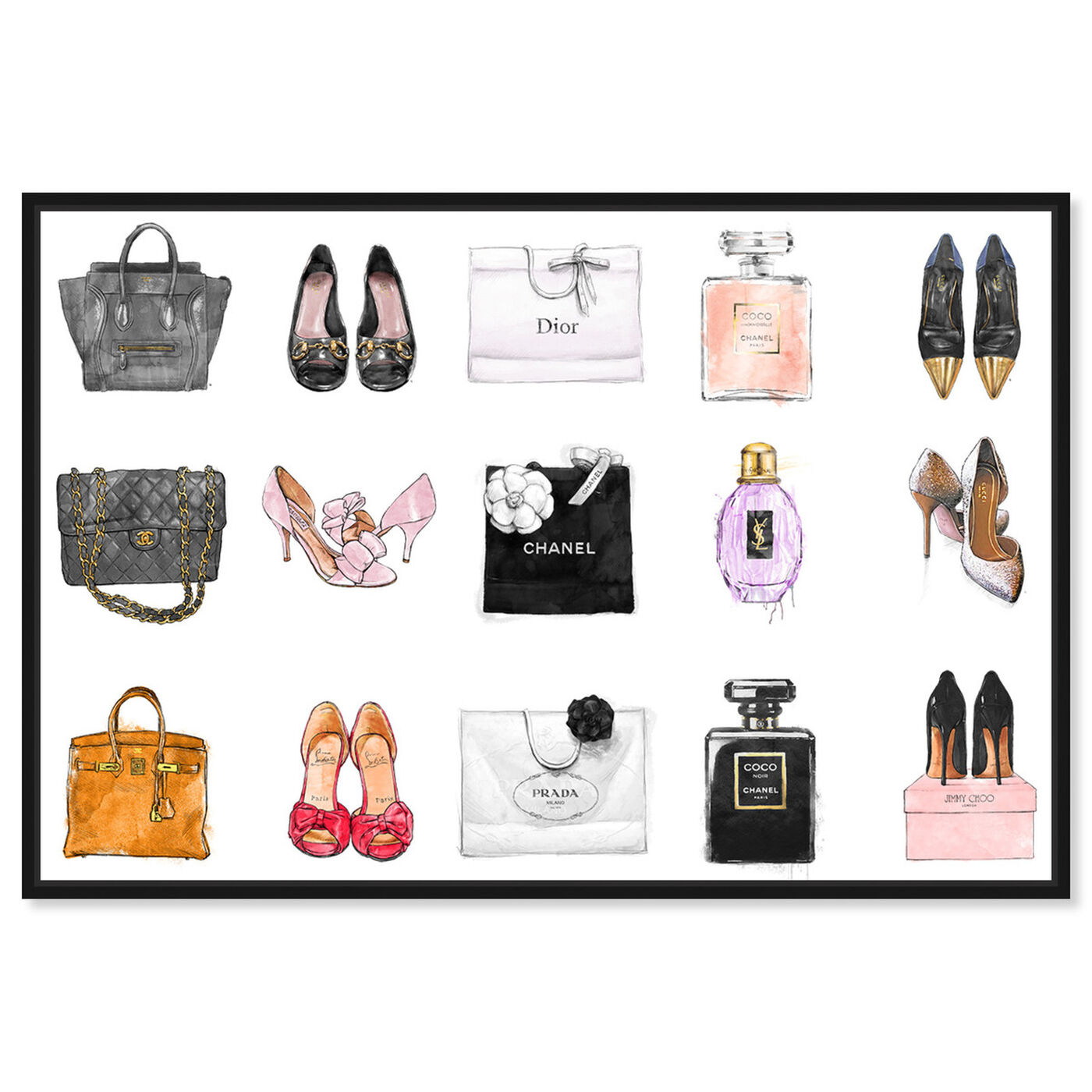 Front view of Fashion Chart featuring fashion and glam and shoes art.
