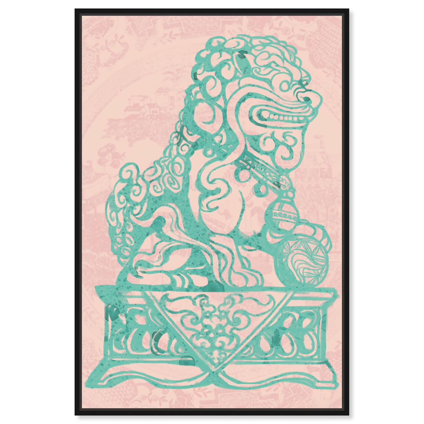 Front view of Foo Dog Rose featuring world and countries and asian cultures art.