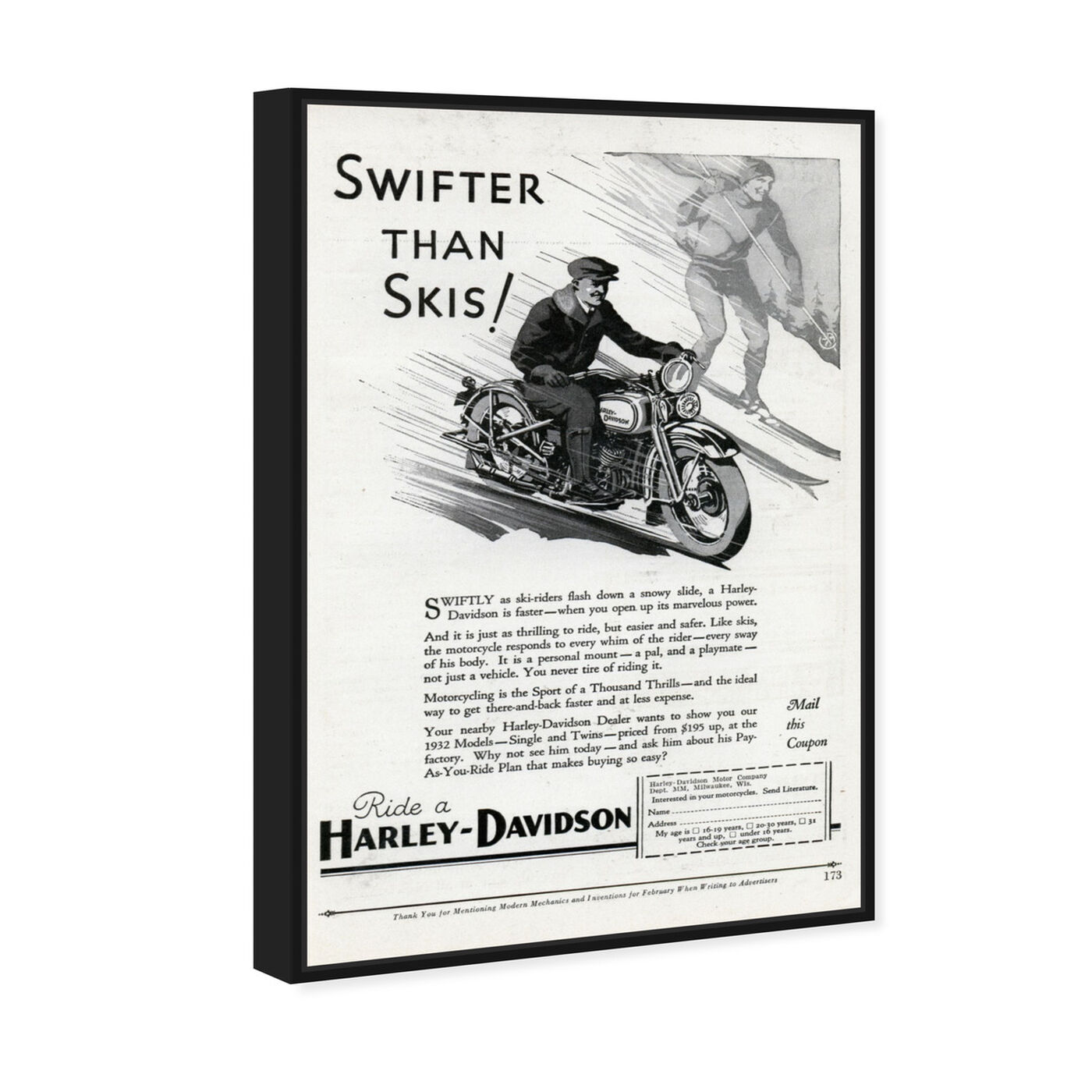 Angled view of Swifter than Skiis featuring advertising and publications art.