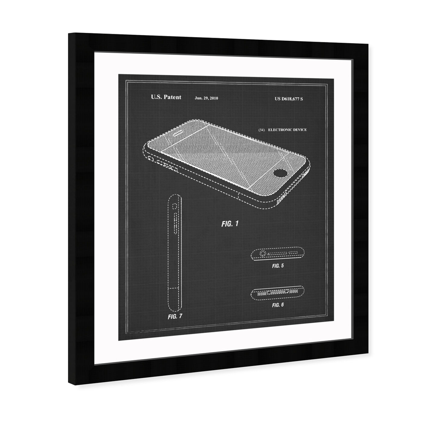Angled view of Apple Iphone, 2010 - Noir featuring symbols and objects and workspace art.