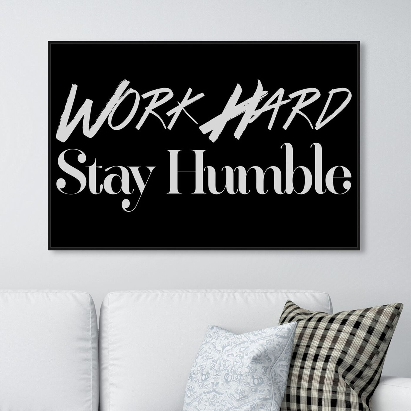 Hanging view of Work Hard featuring typography and quotes and motivational quotes and sayings art.