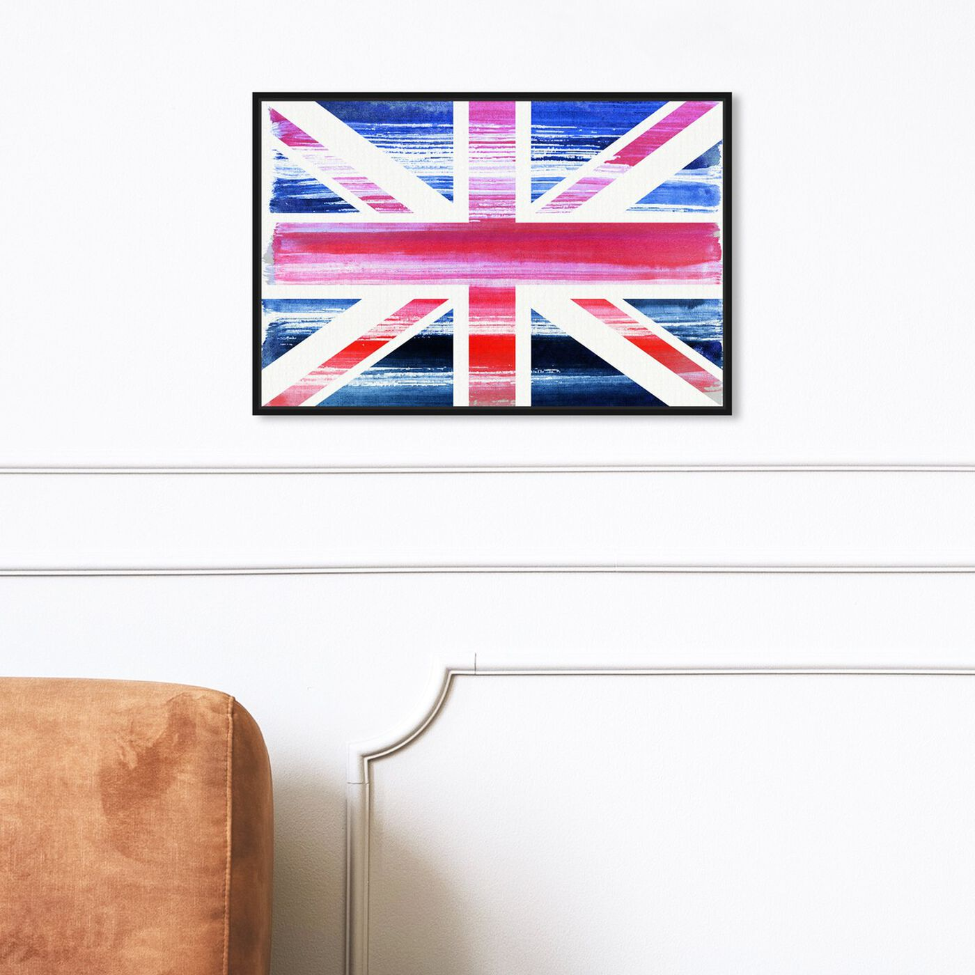 Hanging view of Union Jack featuring maps and flags and european countries maps art.