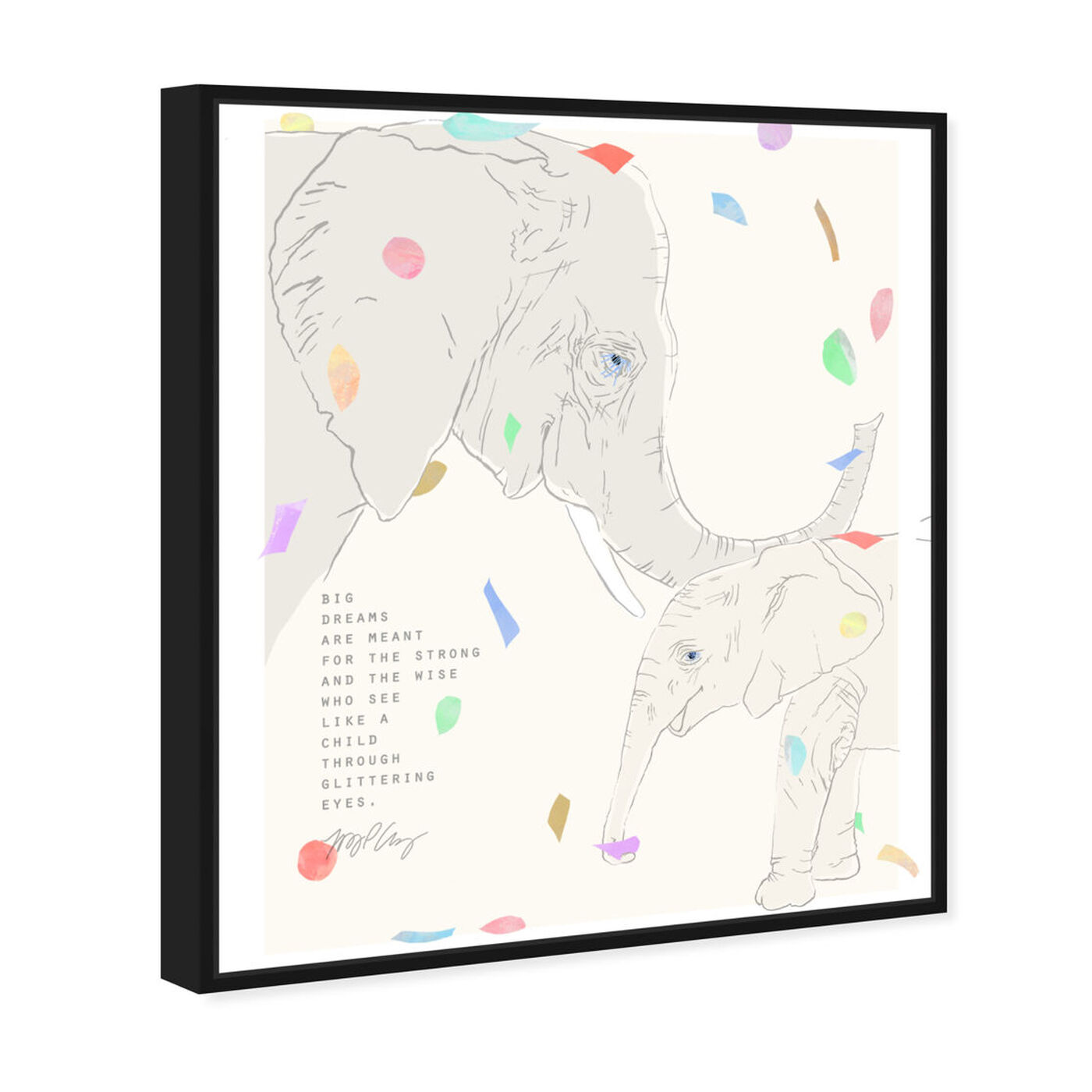 Angled view of Maggie P Chang - Elephants - Cream featuring animals and zoo and wild animals art.