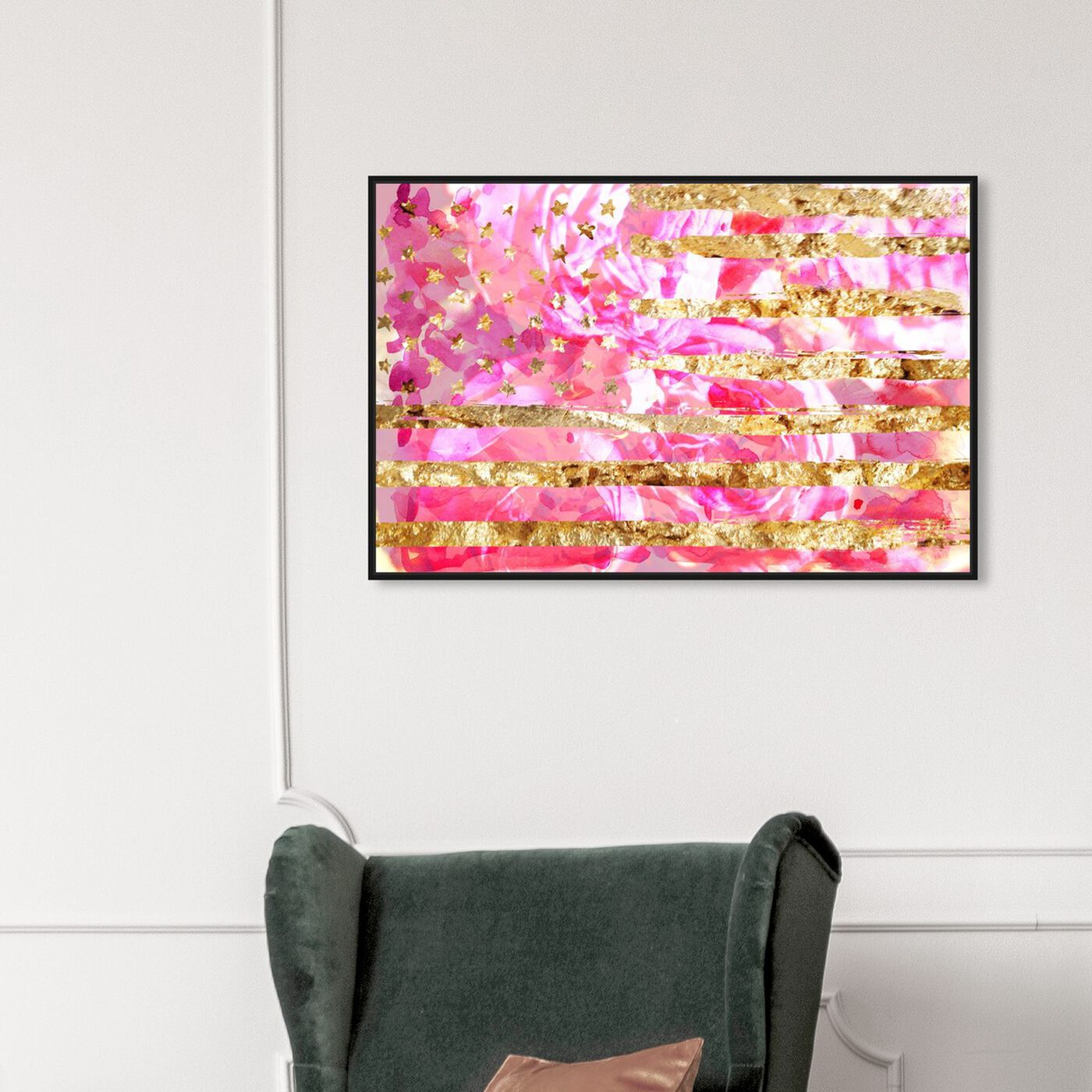 Hanging view of My America Pink featuring americana and patriotic and us flags art.