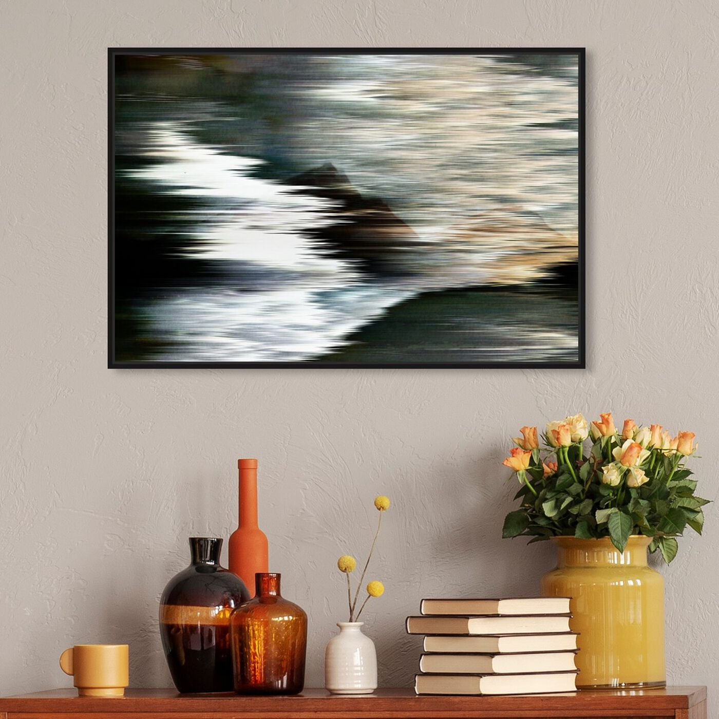 Hanging view of Violone featuring abstract and textures art.
