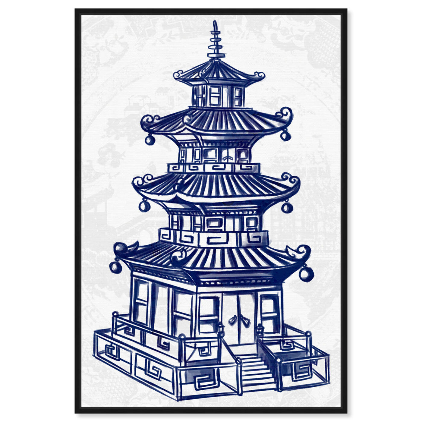 Front view of Julianne Taylor Style - Pagoda Navy featuring world and countries and asian cultures art.