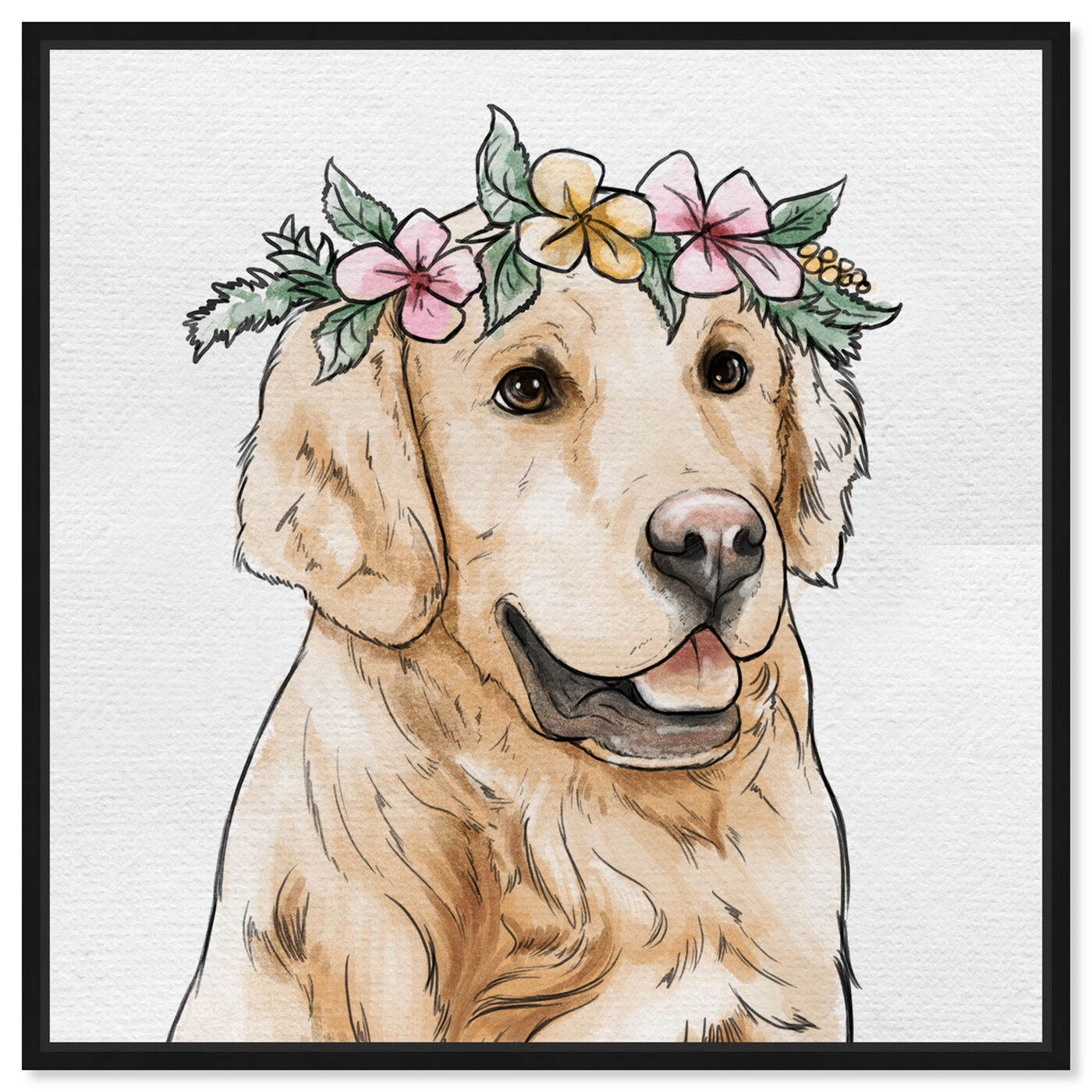 Front view of Floral Crowned Golden Retriever featuring animals and dogs and puppies art.