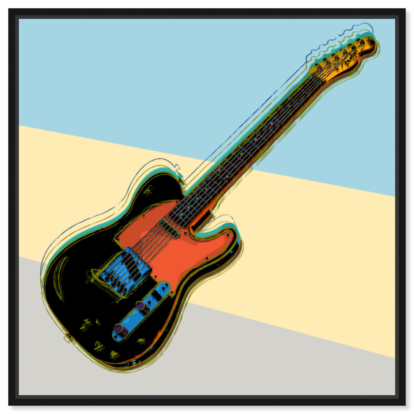 Front view of Telecaster Visions featuring music and dance and music instruments art.