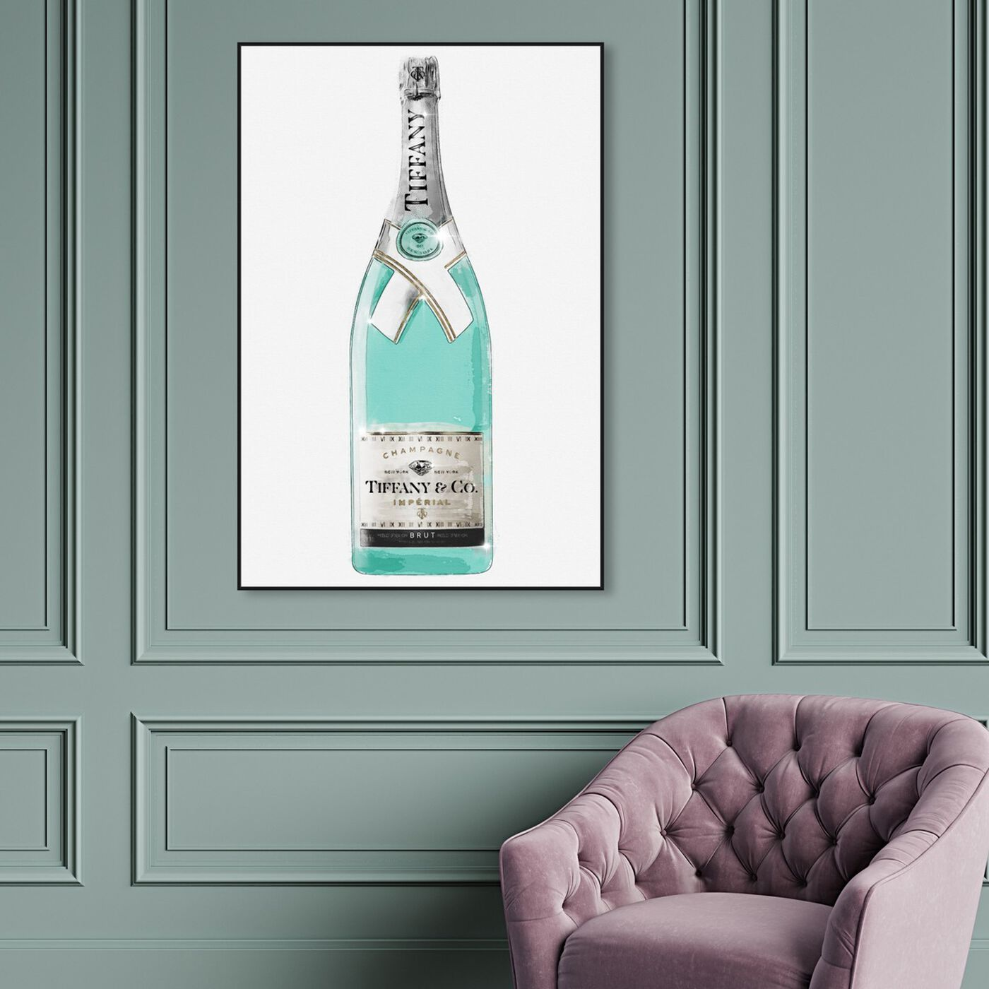 Hanging view of Priceless Champagne featuring drinks and spirits and champagne art.