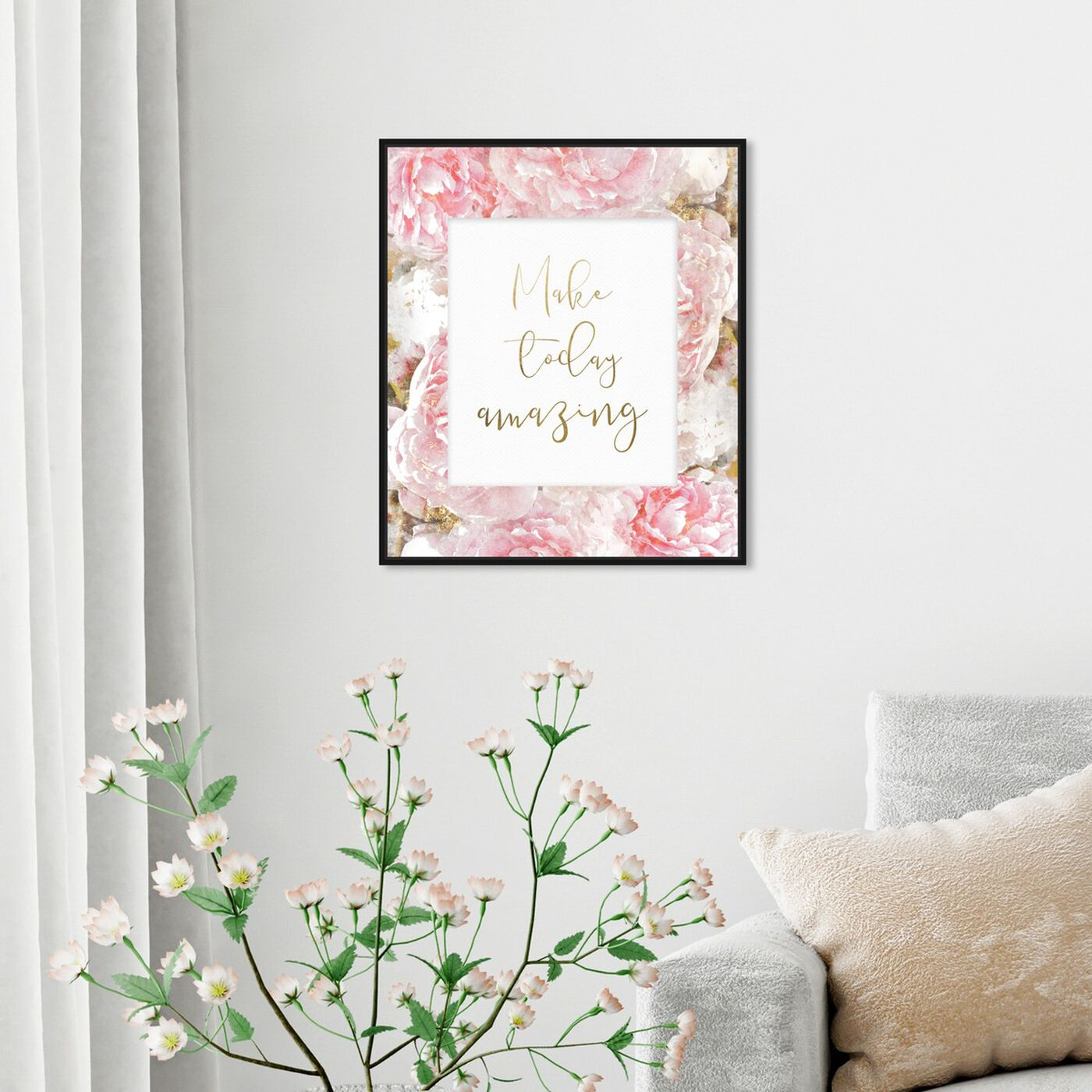 Hanging view of Make Today Amazing Floral featuring typography and quotes and inspirational quotes and sayings art.