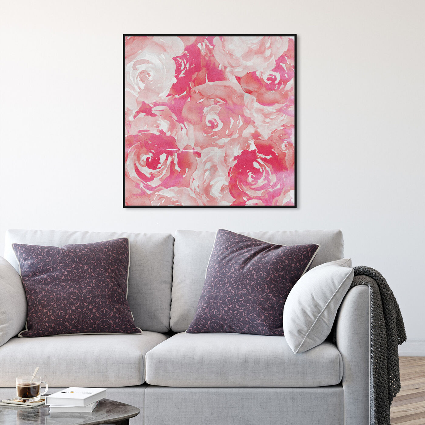 Hanging view of Pink Roses featuring floral and botanical and florals art.