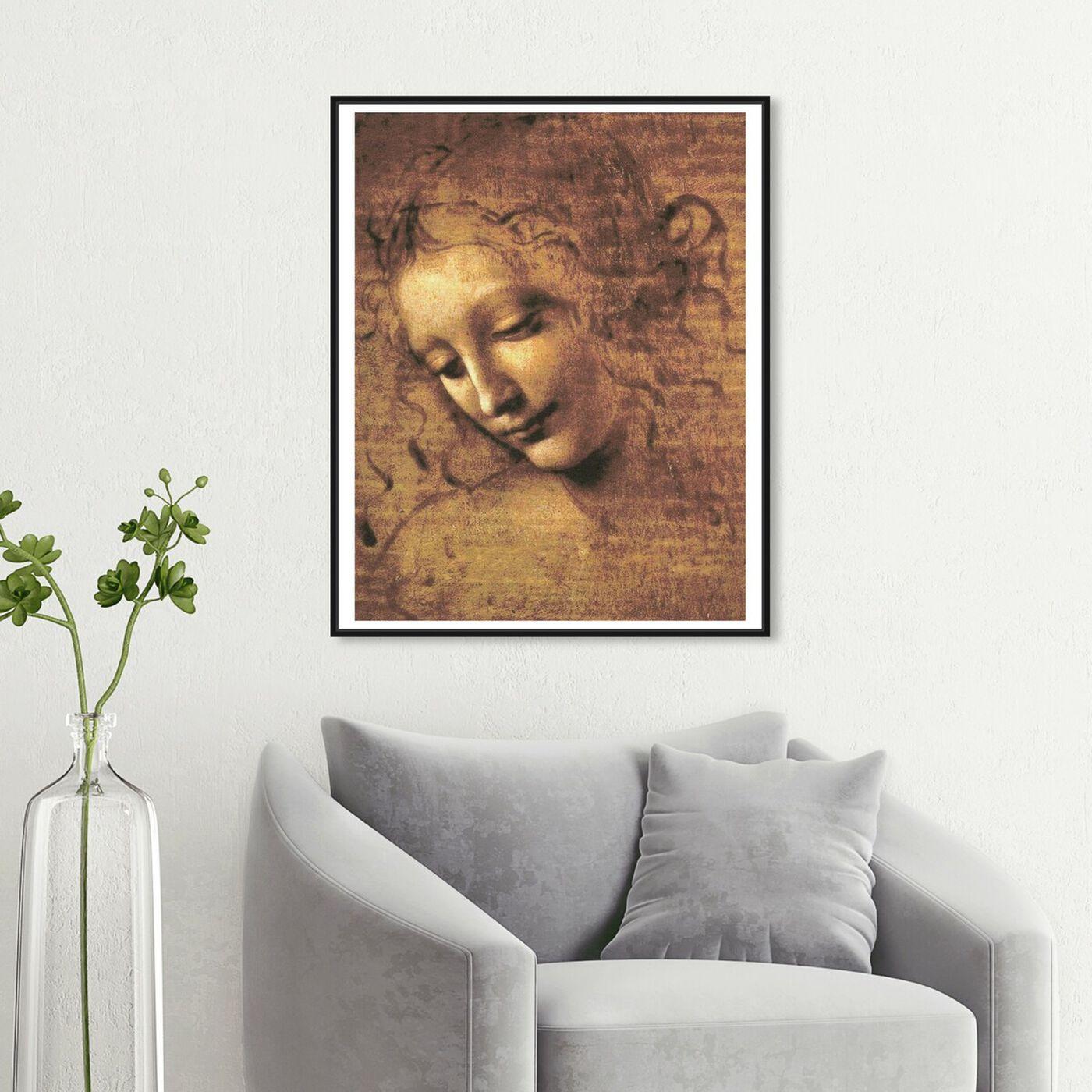 Hanging view of Leonardo Da Vinci - Female Head featuring classic and figurative and renaissance art.