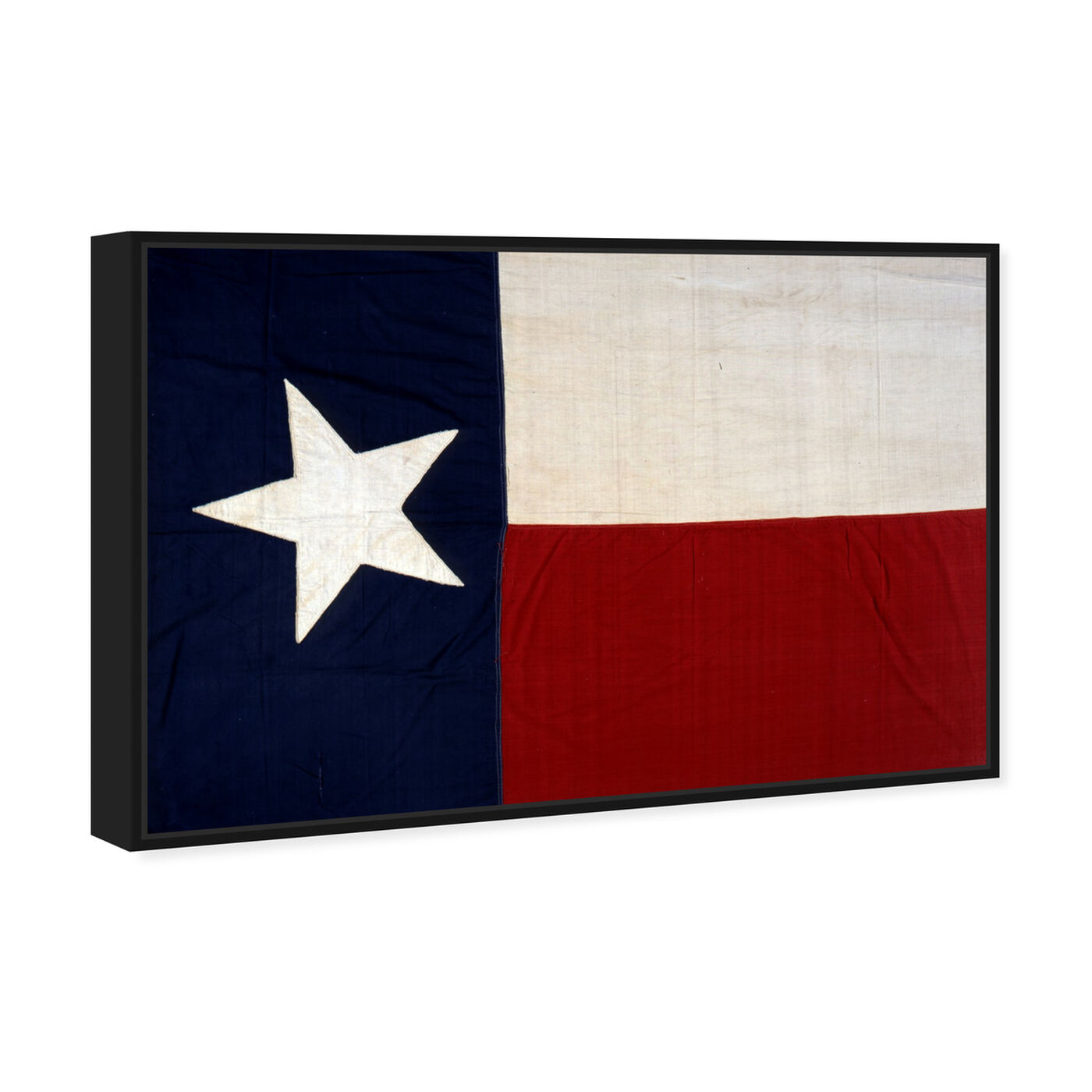 Angled view of Lone Star Flag featuring maps and flags and us states flags art.