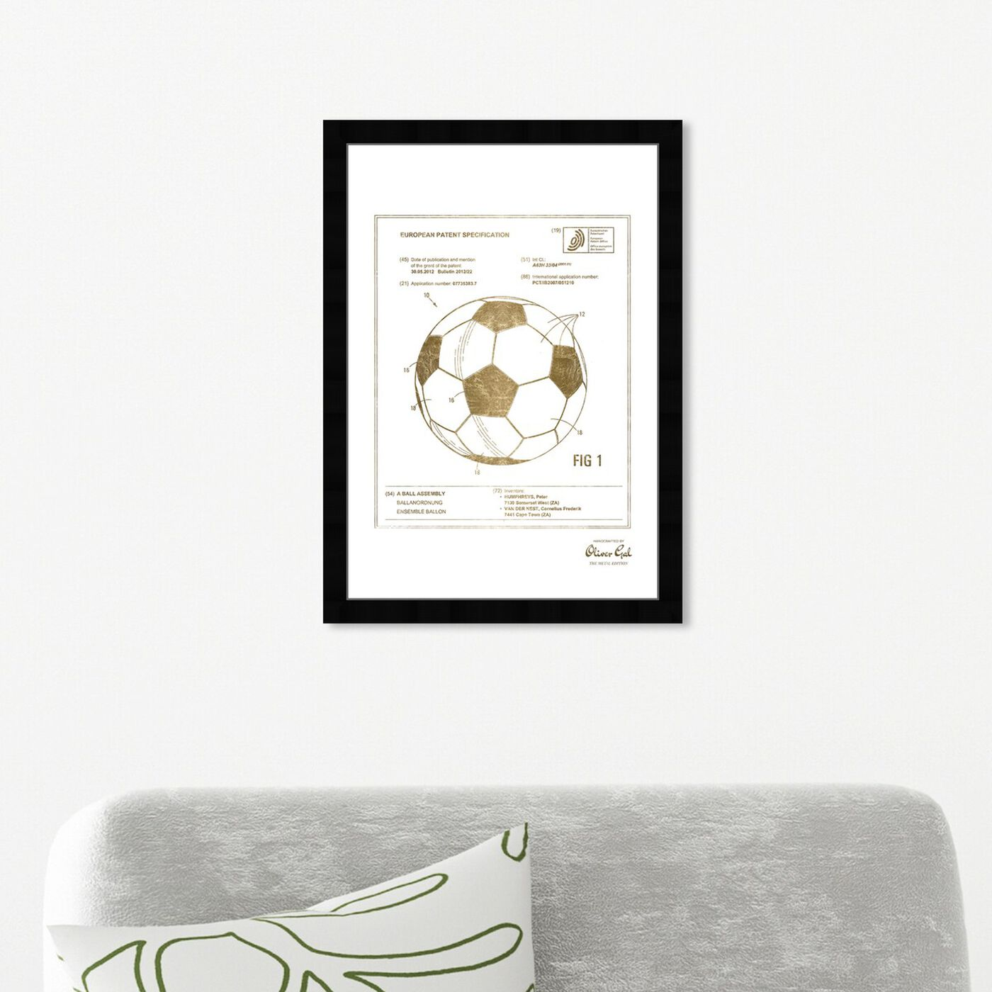Hanging view of soccer ball 2012 Gold featuring sports and teams and soccer art.