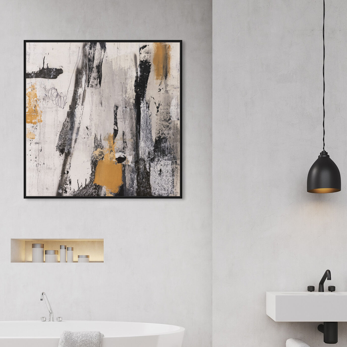 Hanging view of Rushing Gold featuring abstract and paint art.