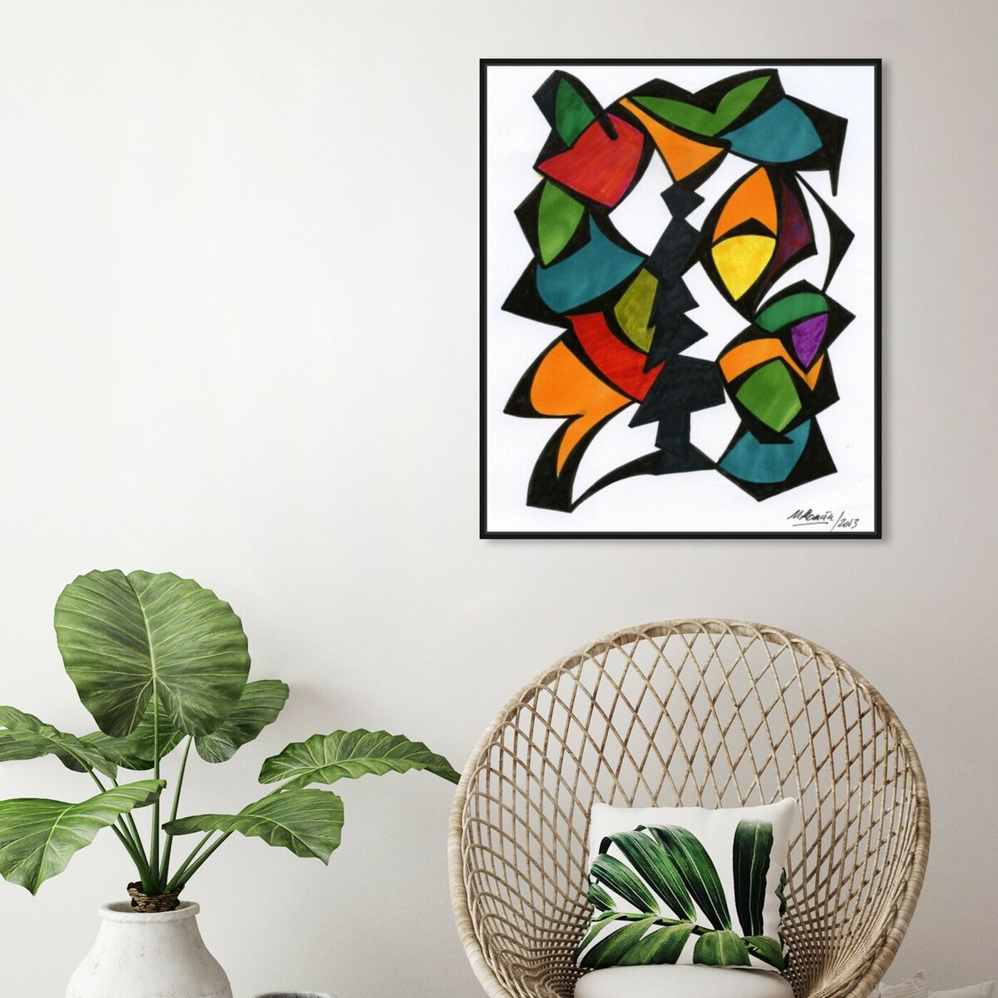Hanging view of Rhythmus featuring abstract and shapes art.
