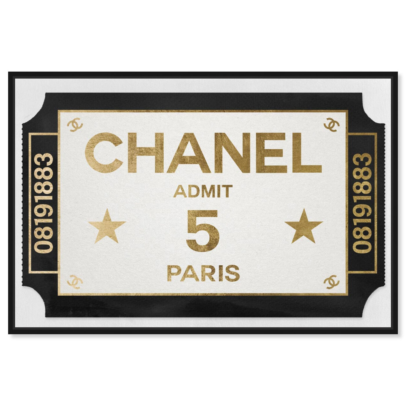 Front view of Ticket Admit One Paris featuring fashion and glam and road signs art.