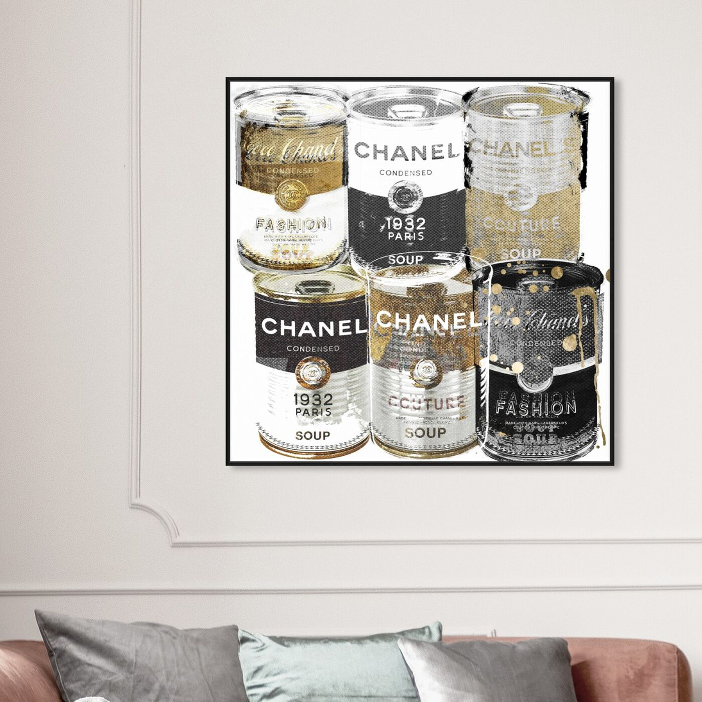 Hanging view of Fashion Soup Pantry featuring fashion and glam and soup can art.