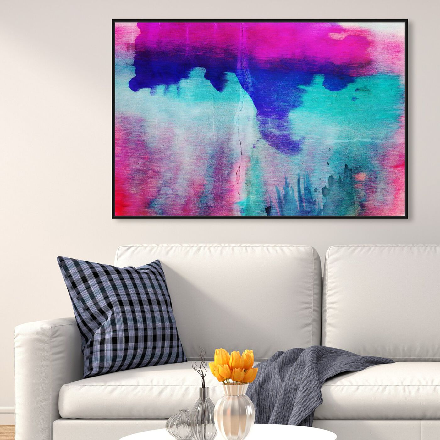Hanging view of Elysium featuring abstract and watercolor art.