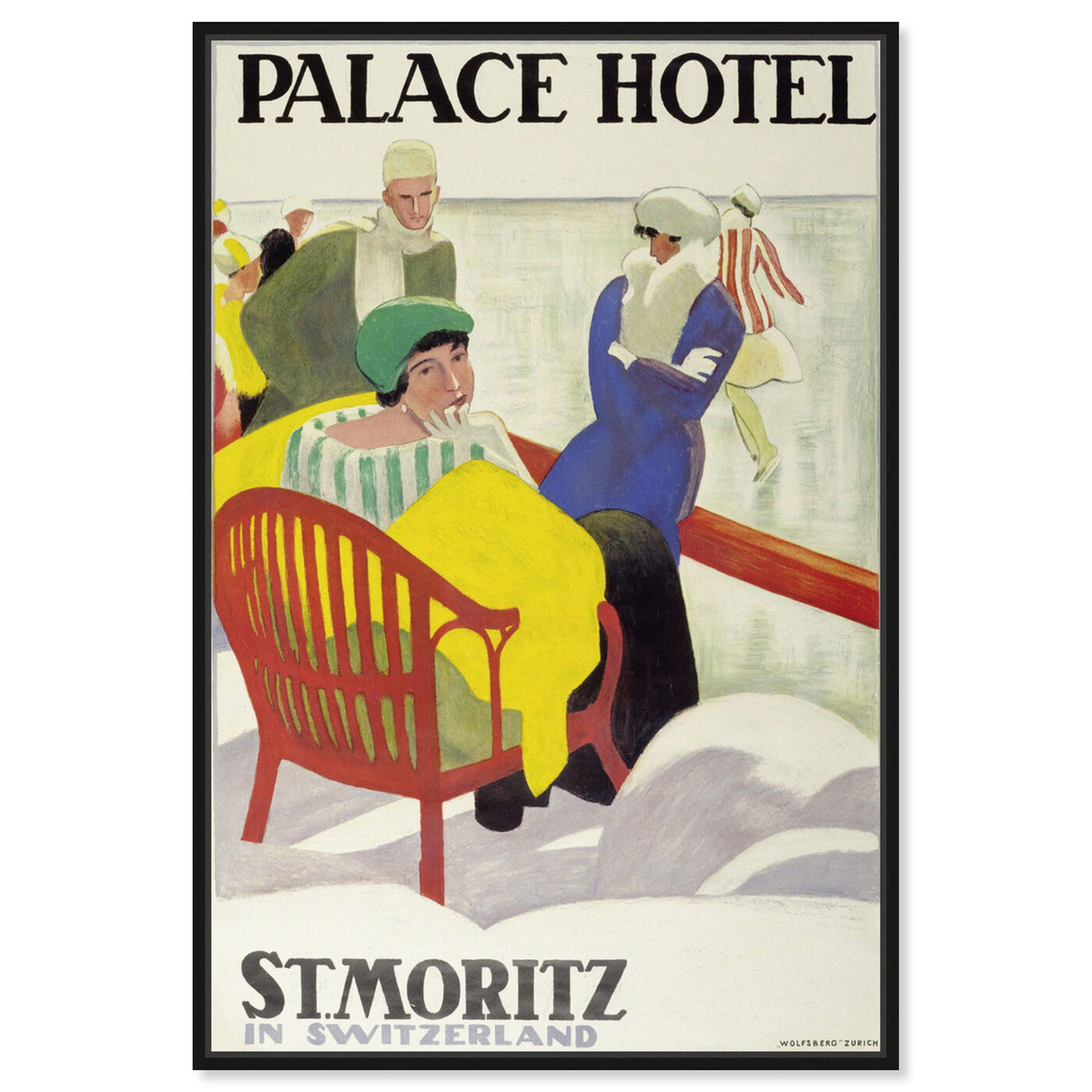 Front view of St Moritz featuring advertising and posters art.