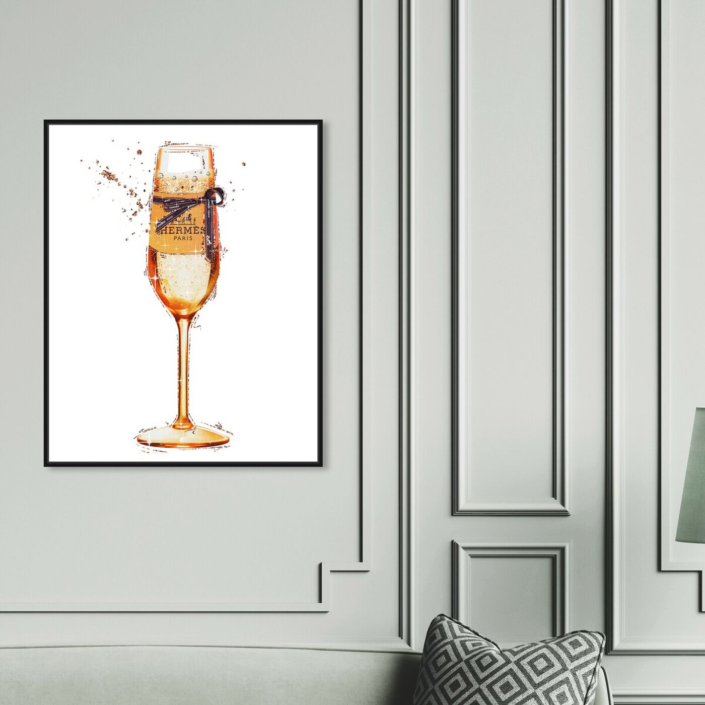 Hanging view of The Orange Toast featuring drinks and spirits and champagne art.