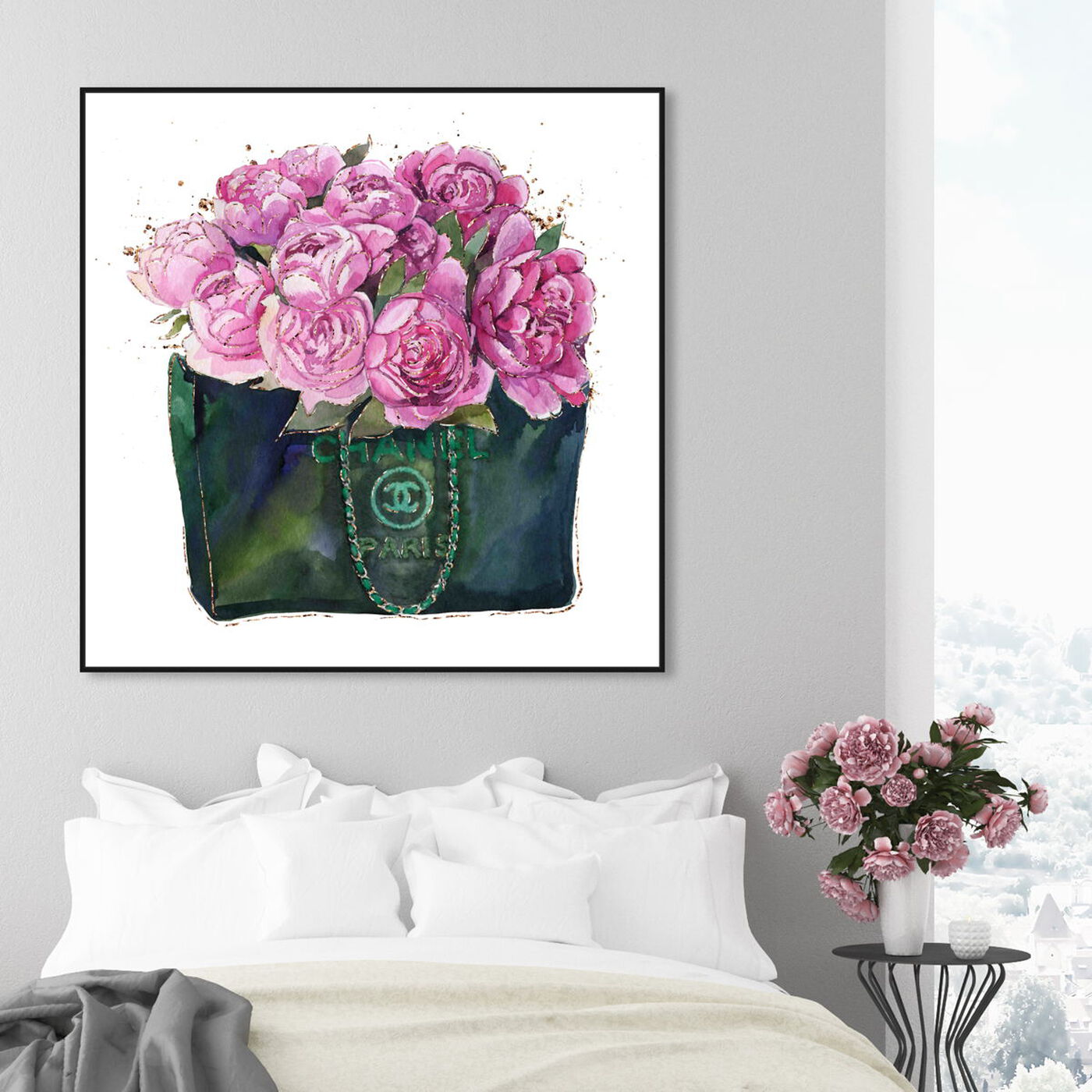 Hanging view of Floral Fashion bag featuring fashion and glam and handbags art.