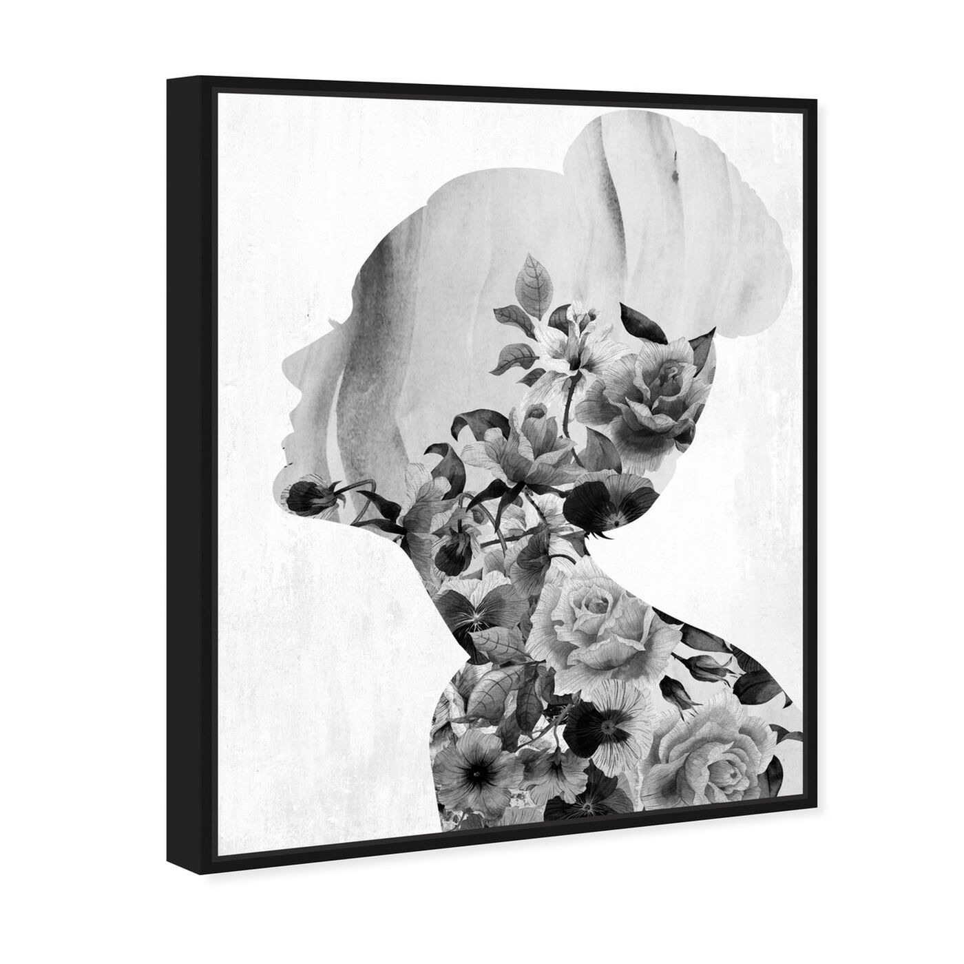 Angled view of Flower Built White and Black featuring floral and botanical and florals art.