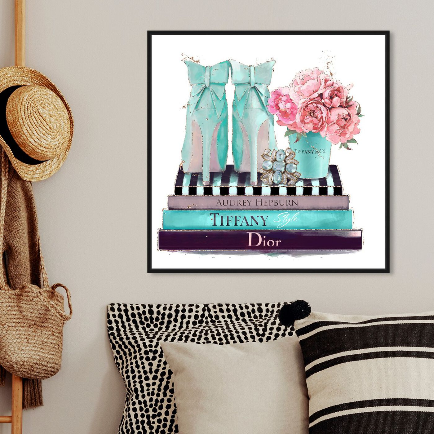 Hanging view of Modestly Aquamarine Display featuring fashion and glam and shoes art.