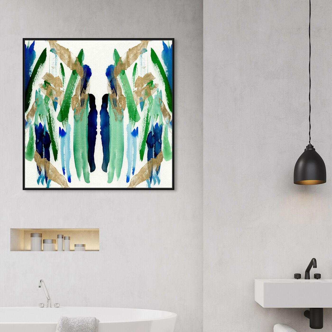 Hanging view of Golden Lagoon featuring abstract and paint art.