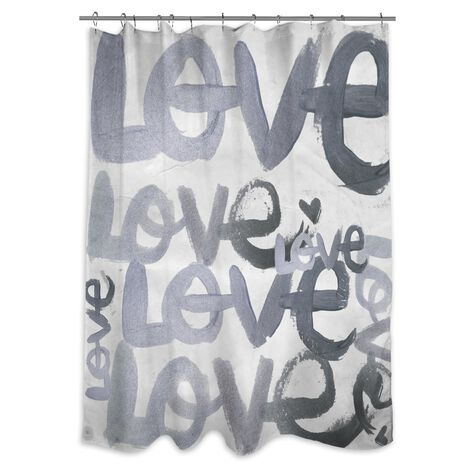 Four Letter Word Silver Shower Curtain