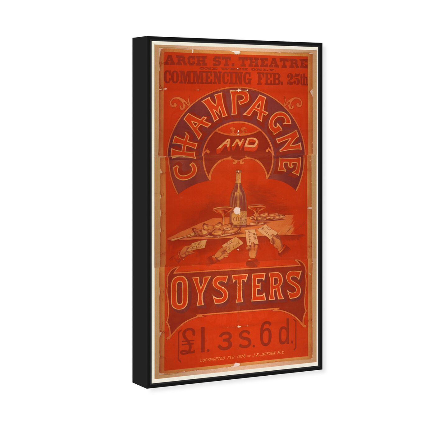 Angled view of Champagne and Oysters featuring advertising and posters art.