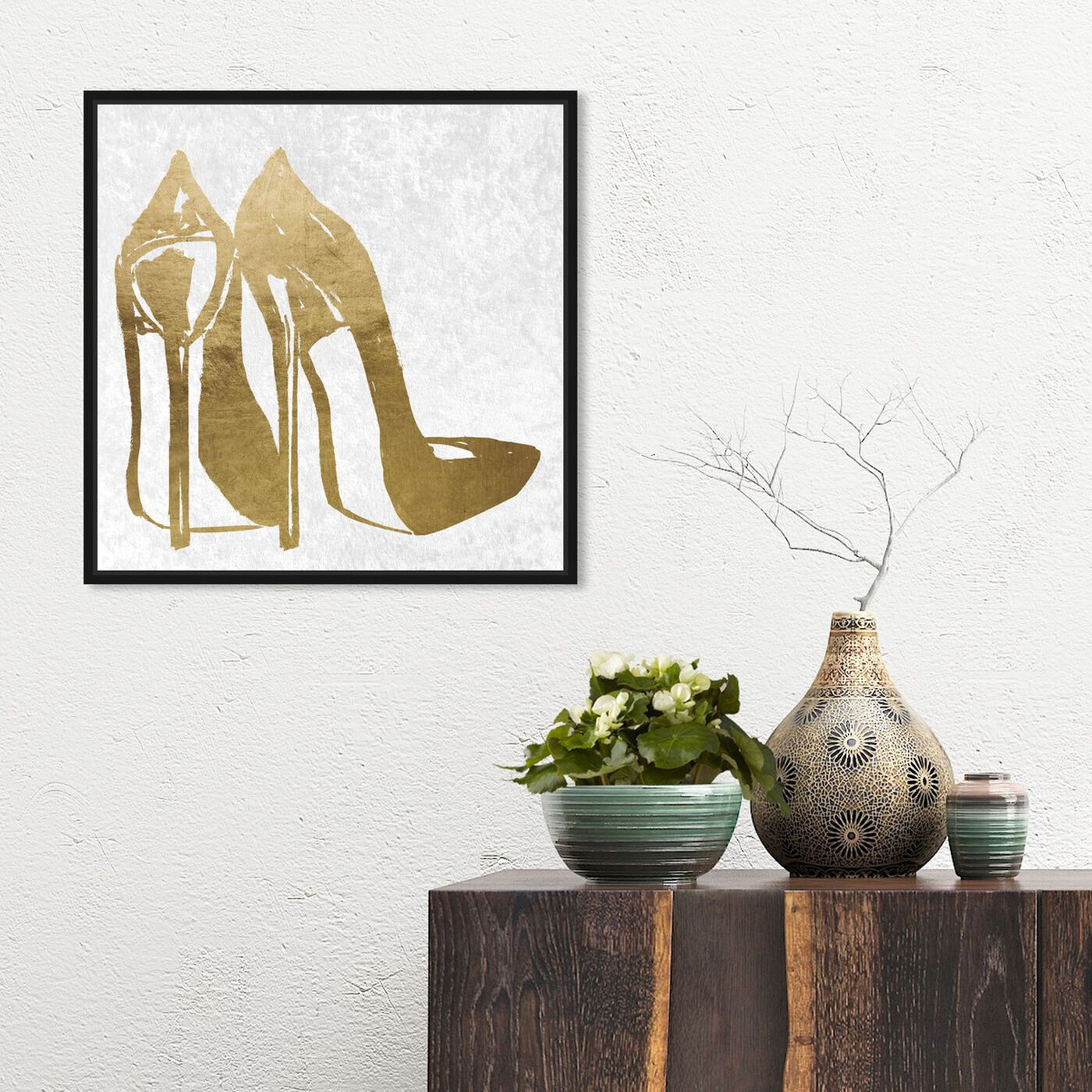 Hanging view of Gold and Velvet Heels featuring fashion and glam and shoes art.