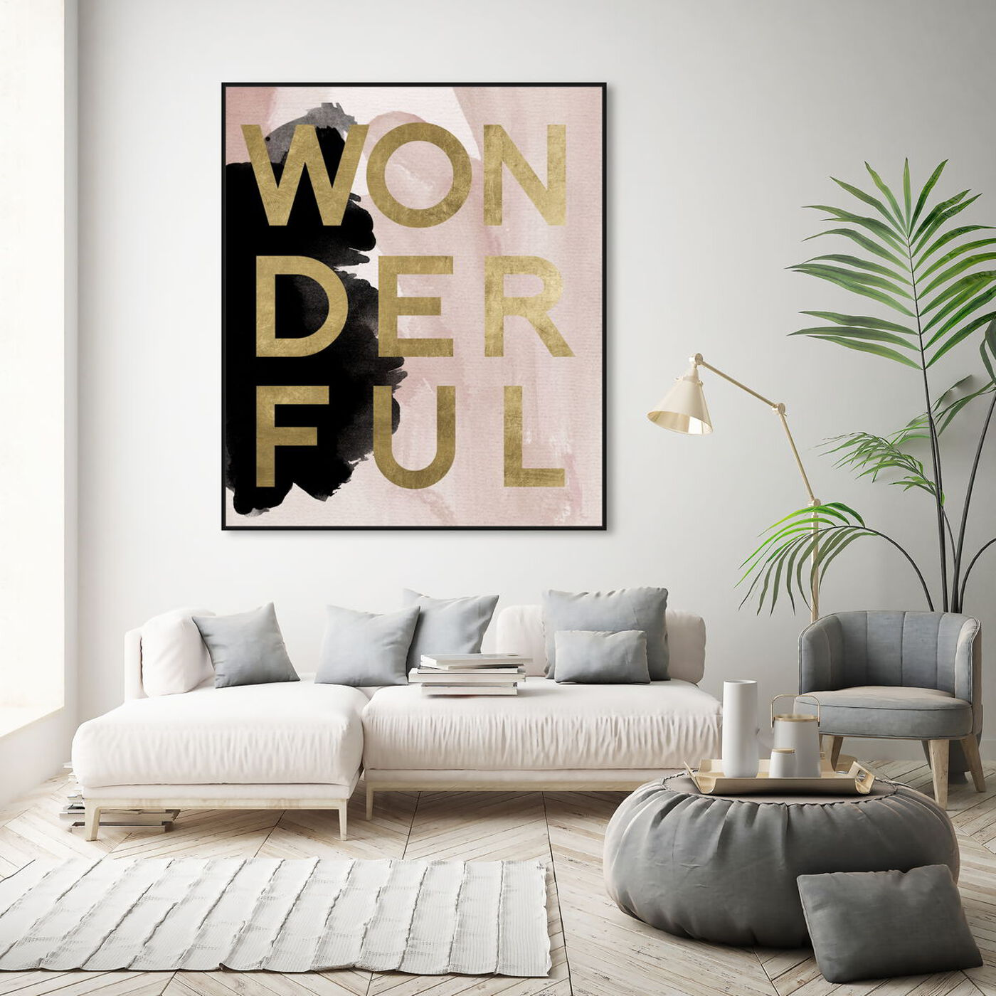 Hanging view of More Wonderful Neutral featuring typography and quotes and beauty quotes and sayings art.