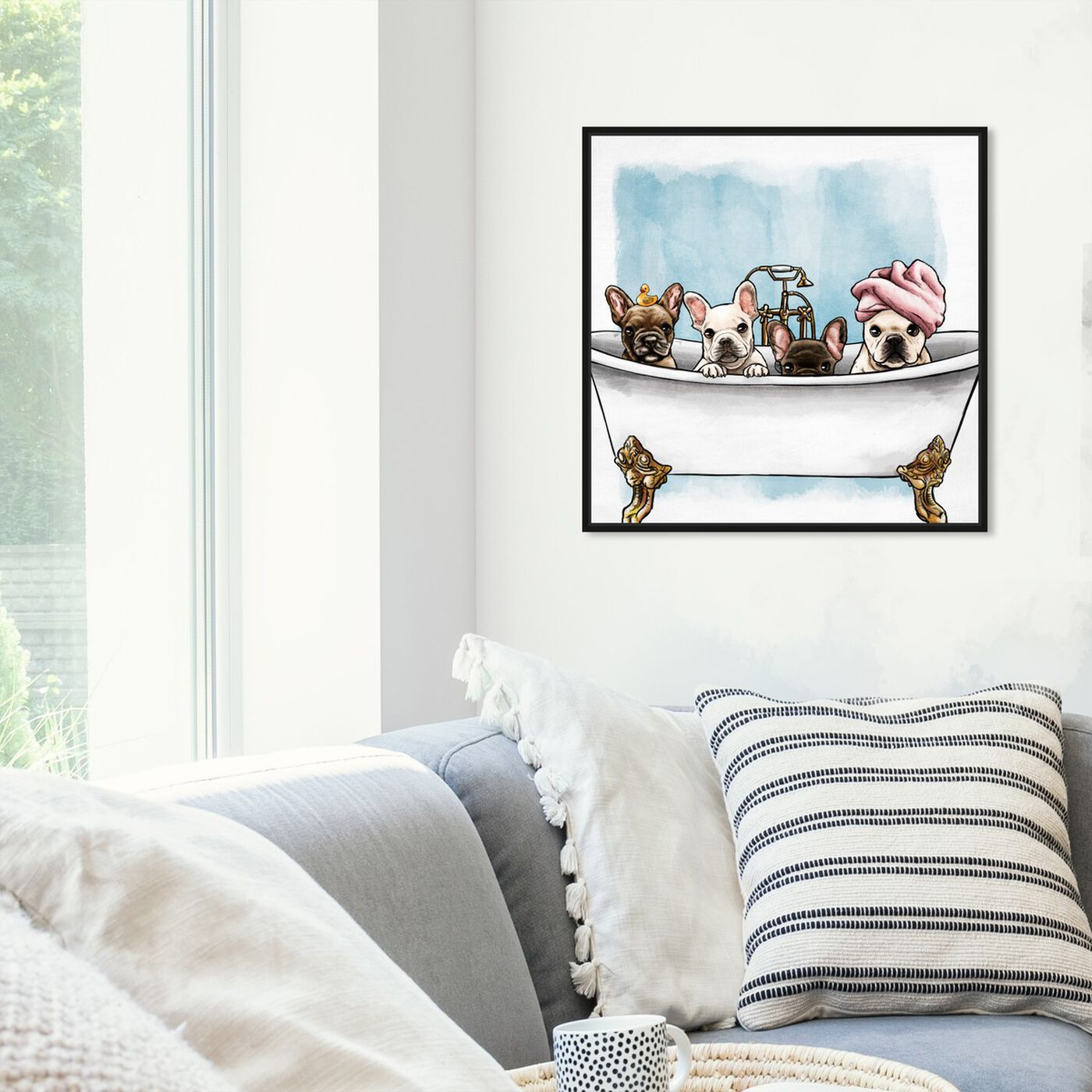 Hanging view of Frenchies In The Tub featuring animals and dogs and puppies art.