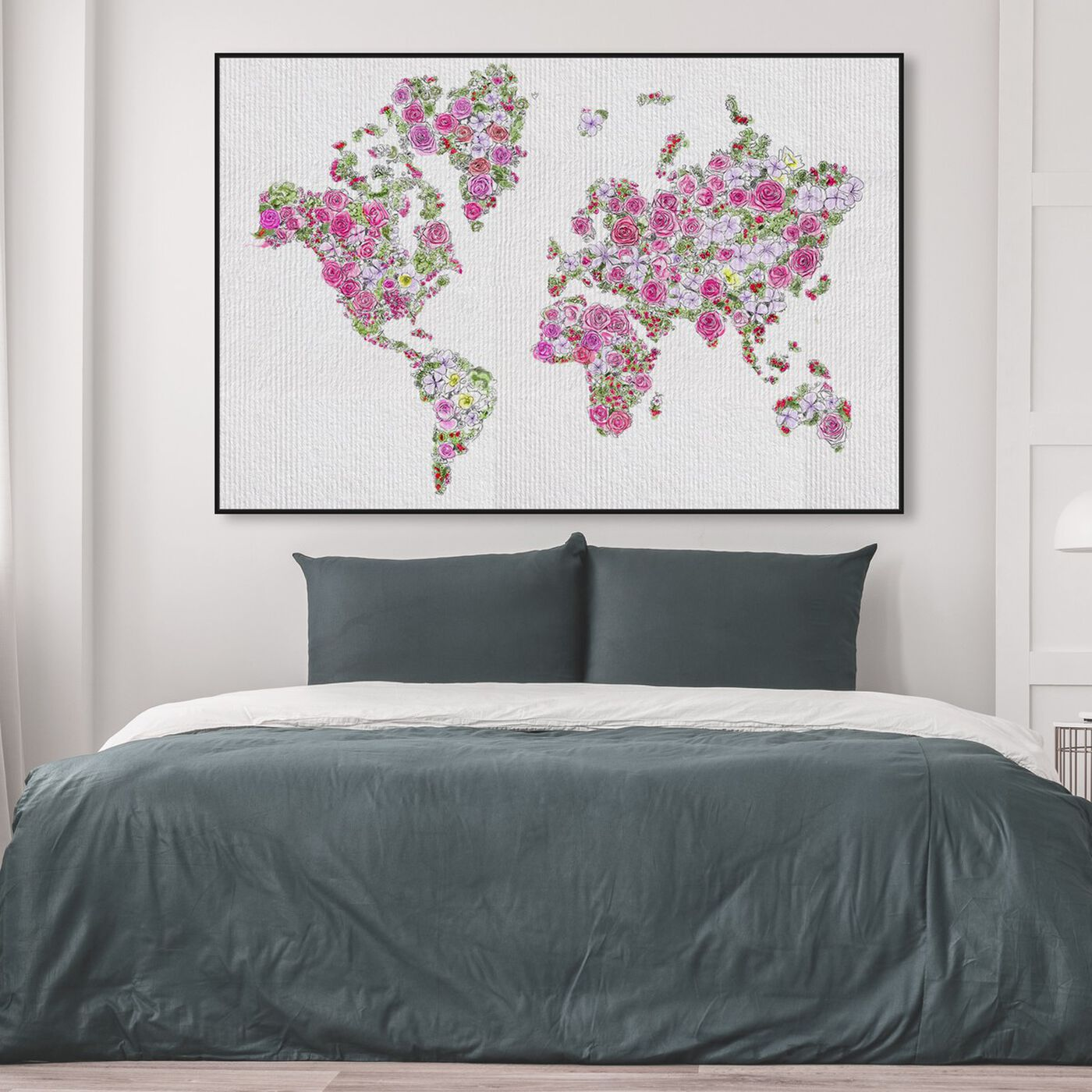 Hanging view of Mapamundi Roses featuring maps and flags and world maps art.