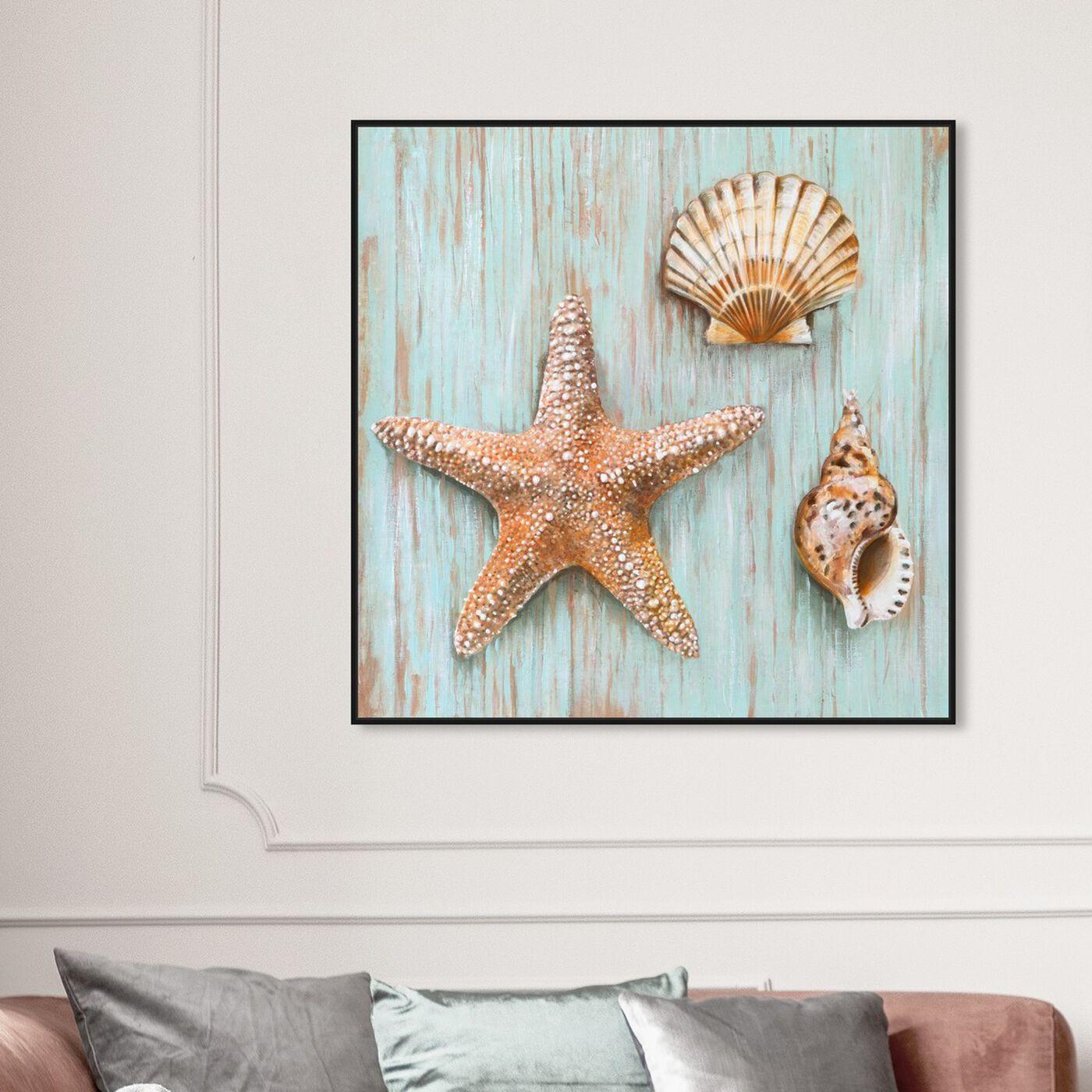 Hanging view of SAI - Maritimas Treasures featuring nautical and coastal and marine life art.