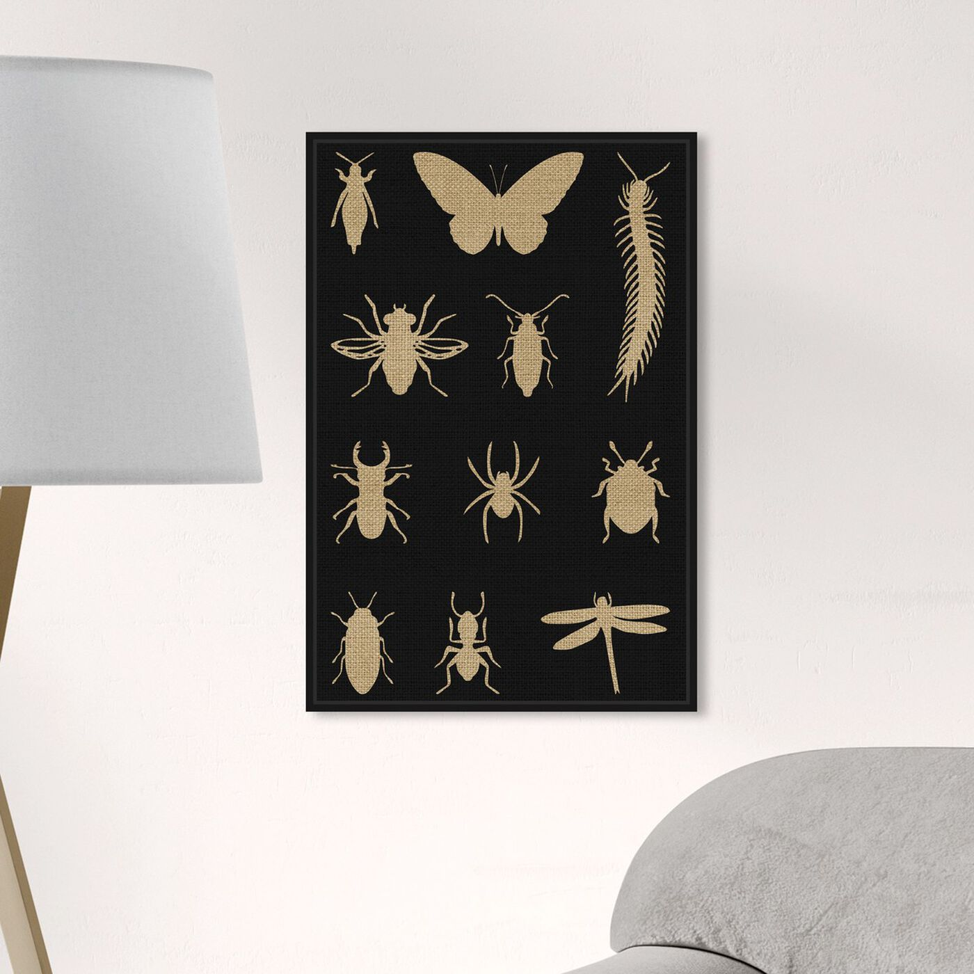 Hanging view of Black Creepy Crawlies featuring animals and insects art.