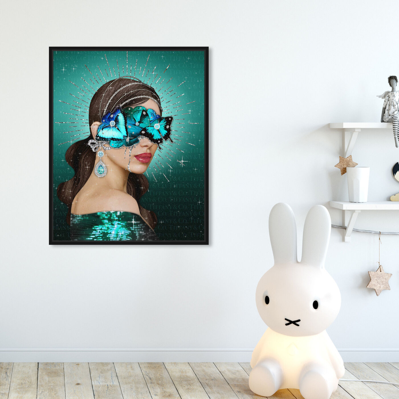 Hanging view of Turquoise Queen featuring fashion and glam and portraits art.