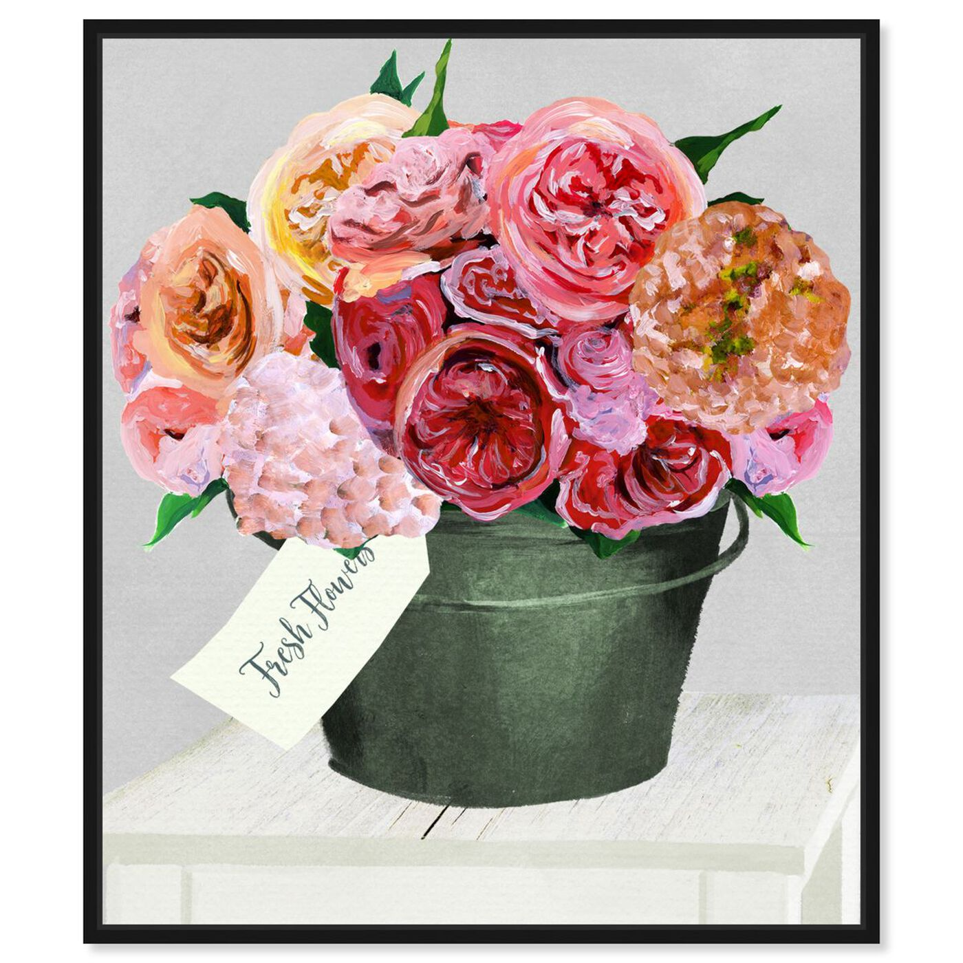 Front view of Bucket Full of Buttercups featuring floral and botanical and florals art.