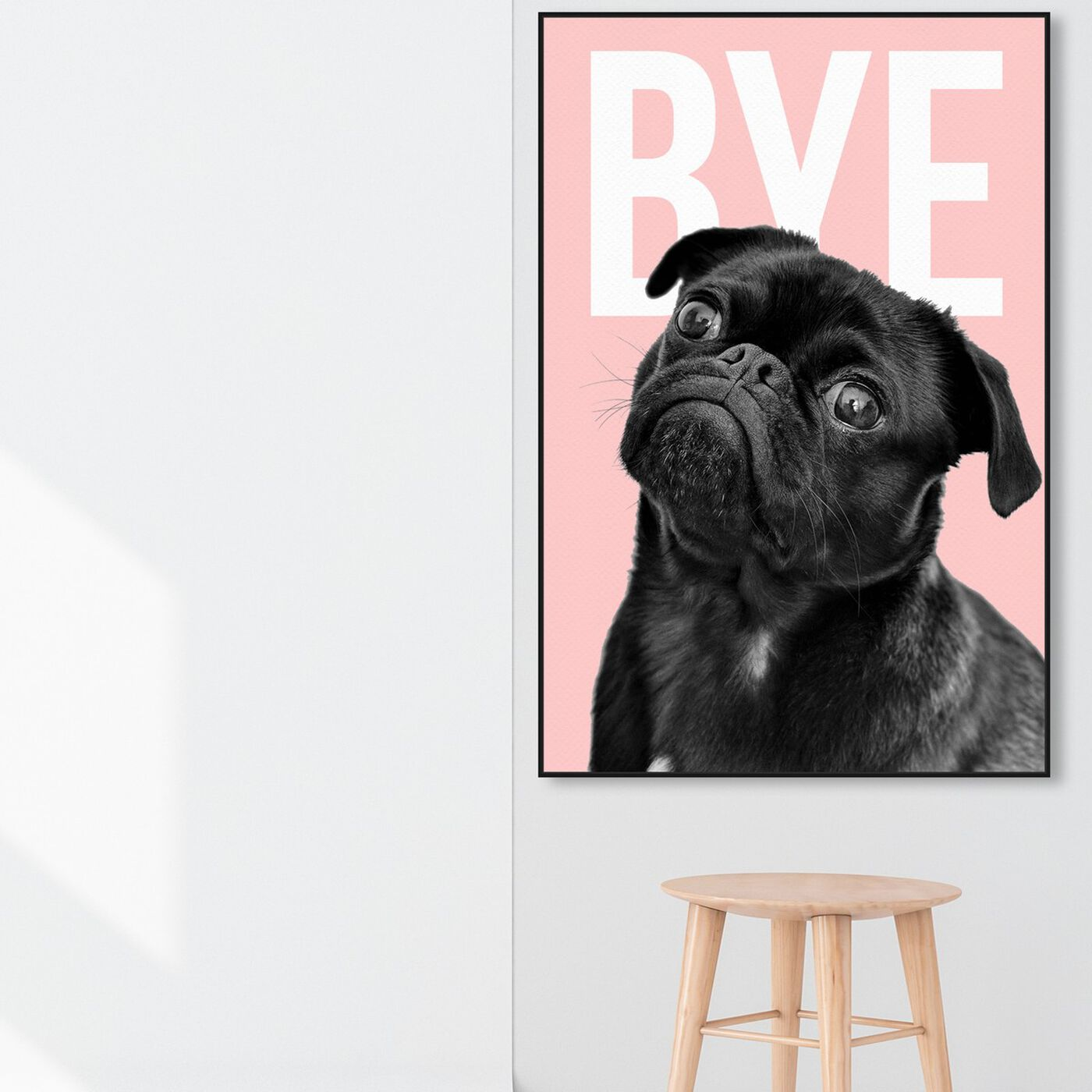 Hanging view of Bye Dog featuring animals and dogs and puppies art.
