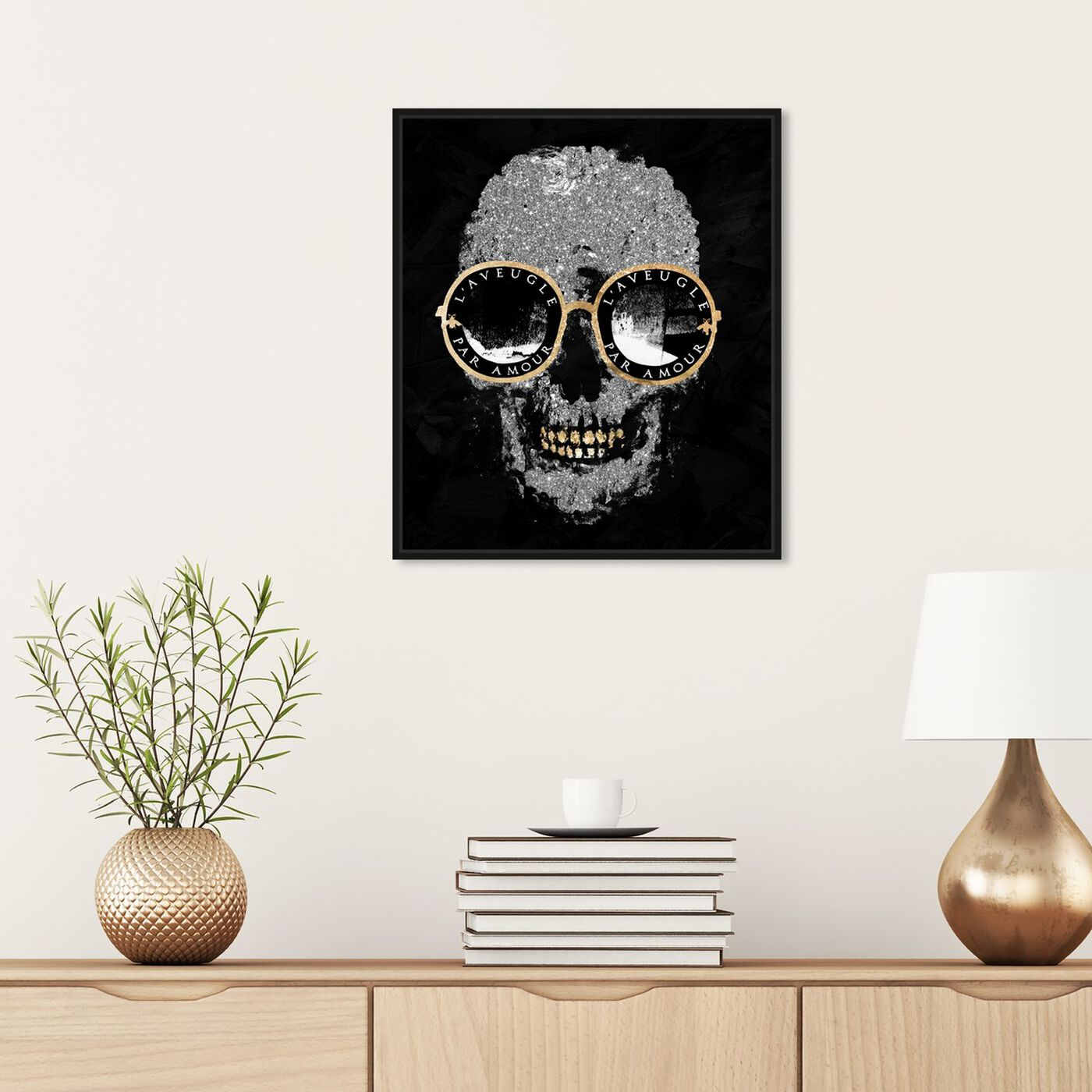 Hanging view of Razz-Dazz Denticles Shades and Skull featuring fashion and glam and accessories art.