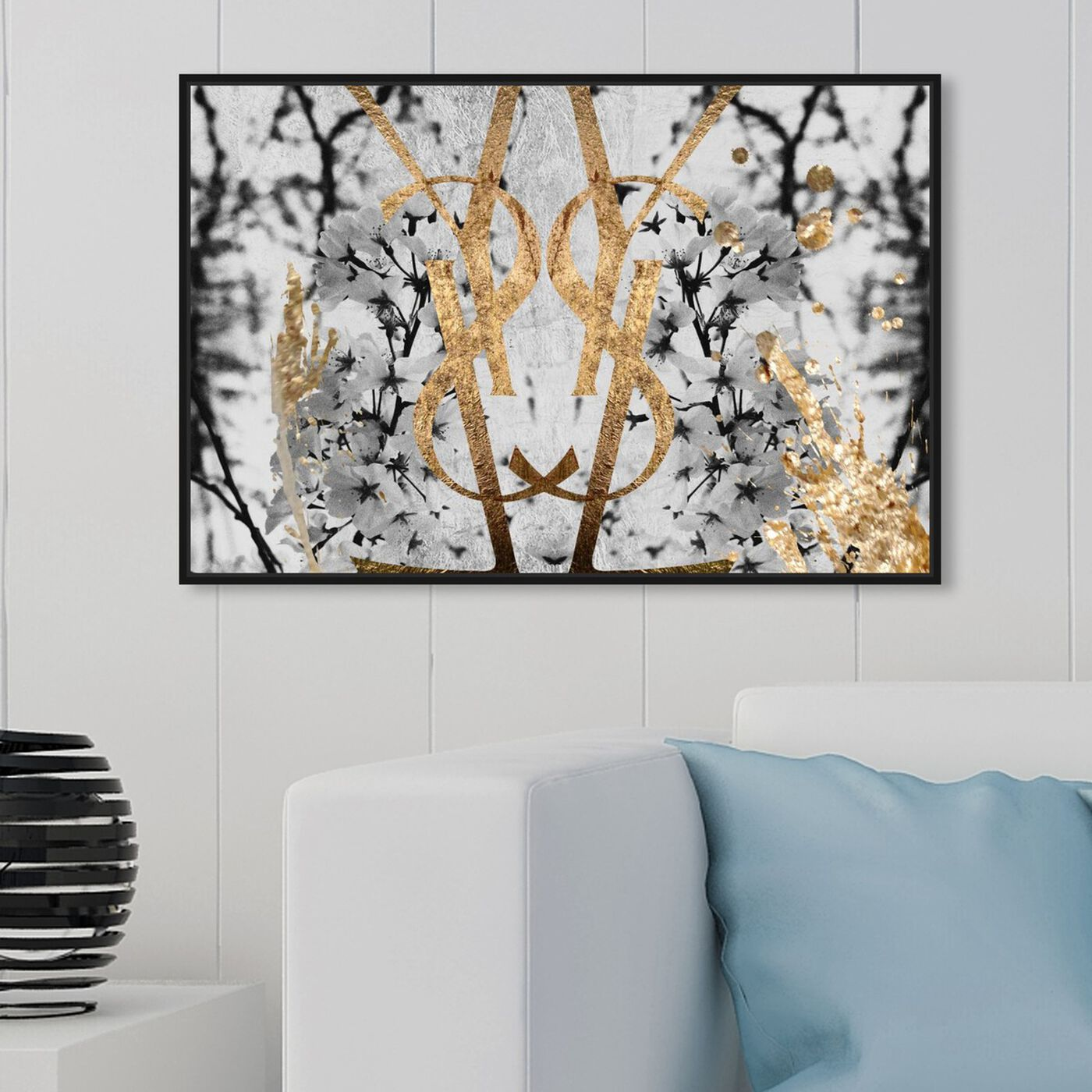 Hanging view of Botanical Couture Noir featuring floral and botanical and botanicals art.
