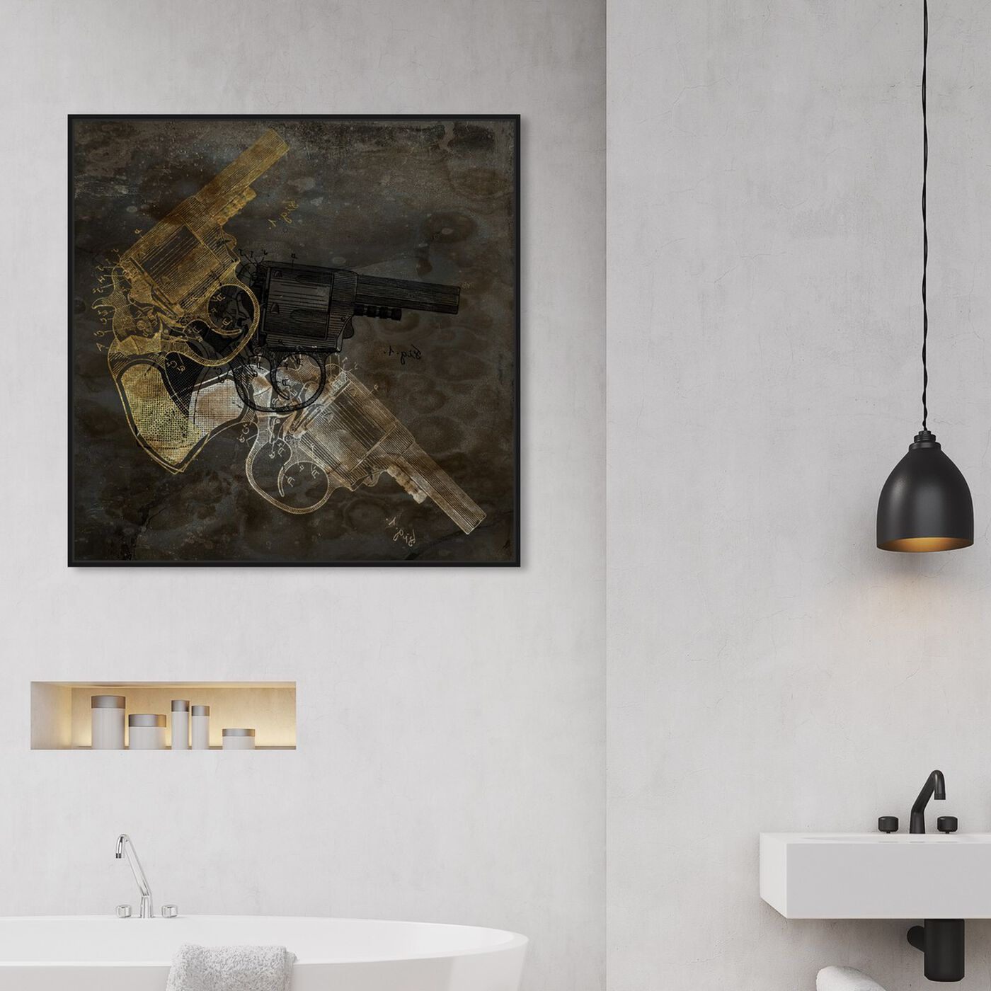 Hanging view of Gold Revolver featuring entertainment and hobbies and machine guns art.