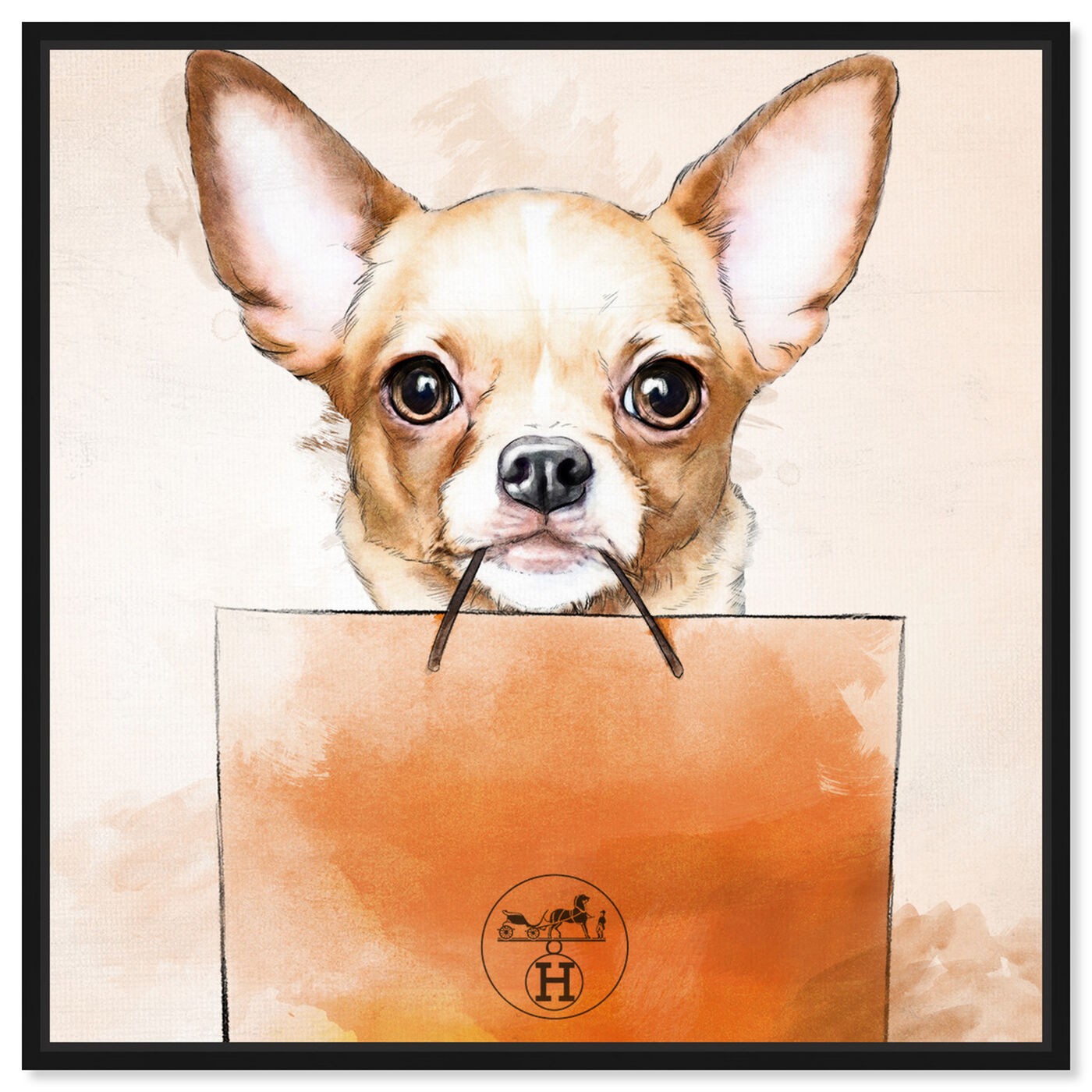 Front view of Chihuahua Watercolor Bag featuring animals and dogs and puppies art.