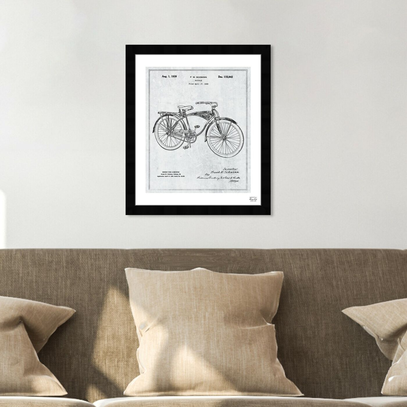 Hanging view of Schwinn Bicycle 1939 Grey featuring transportation and bicycles art.