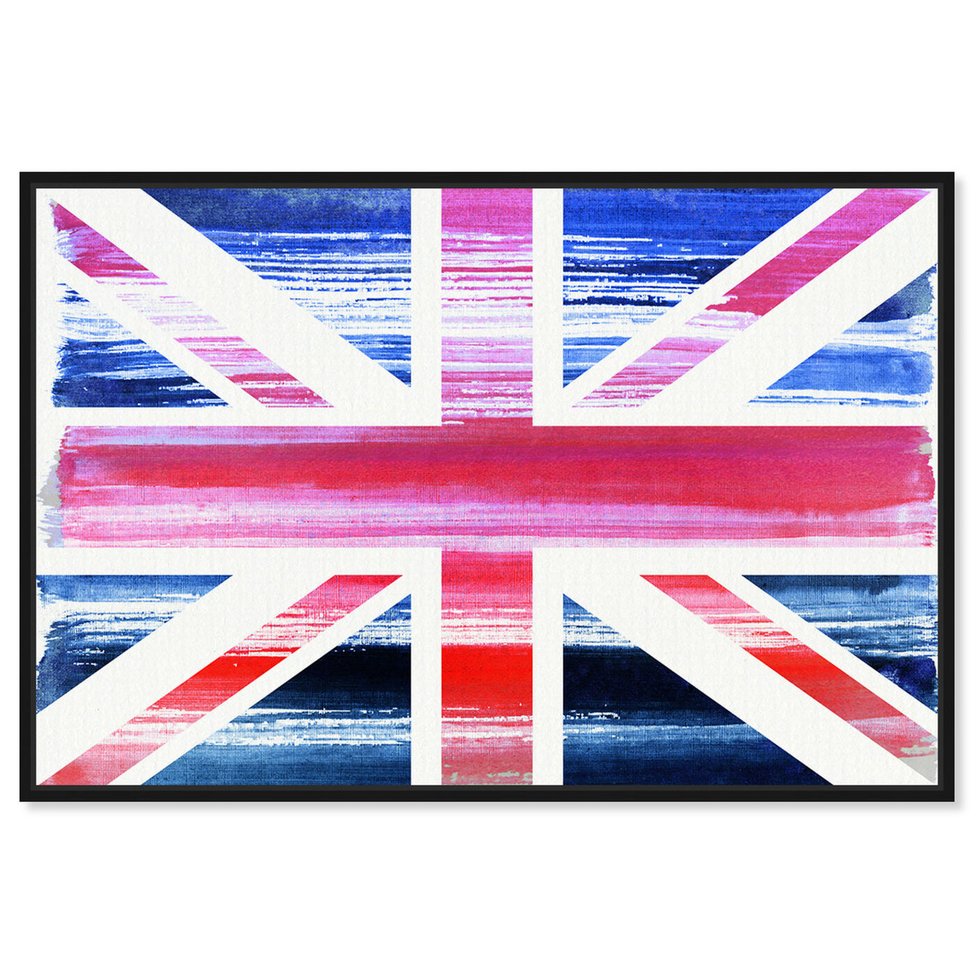 Front view of Union Jack featuring maps and flags and european countries maps art.