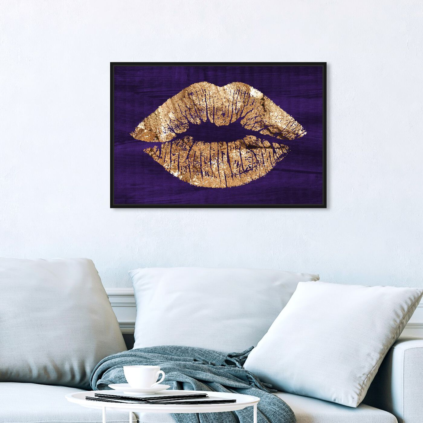 Hanging view of Solid Kiss Violet featuring fashion and glam and lips art.